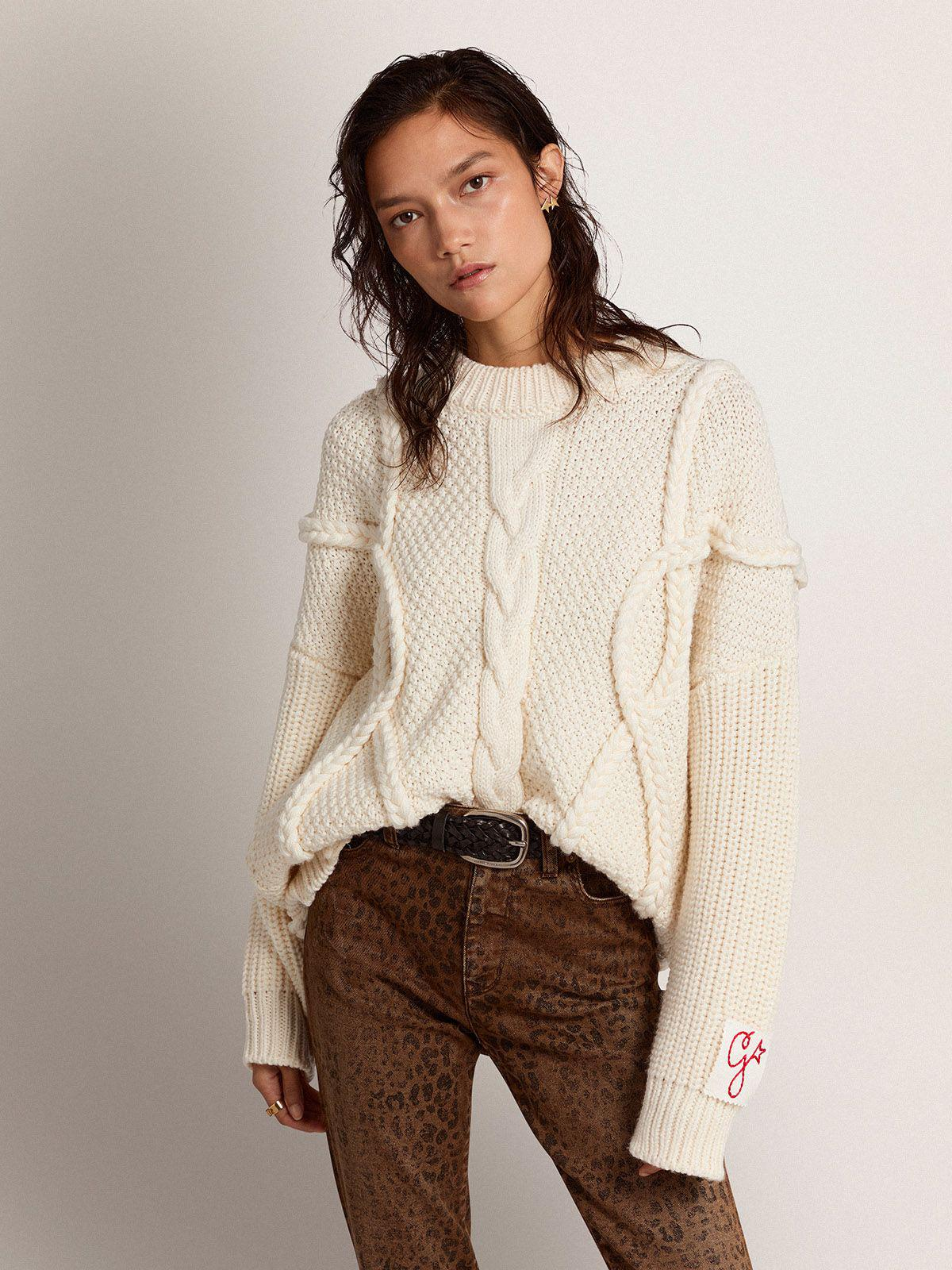 Golden Collection round-neck sweater in natural white wool with braided motif