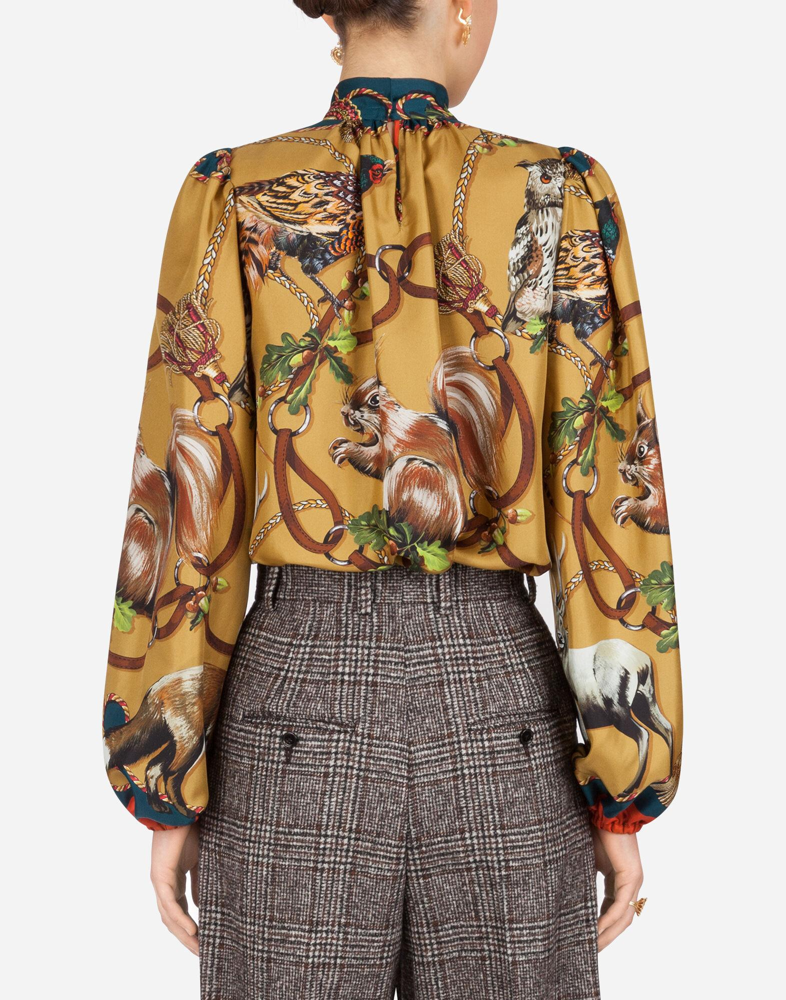 Twill blouse with animals of the forest print 1