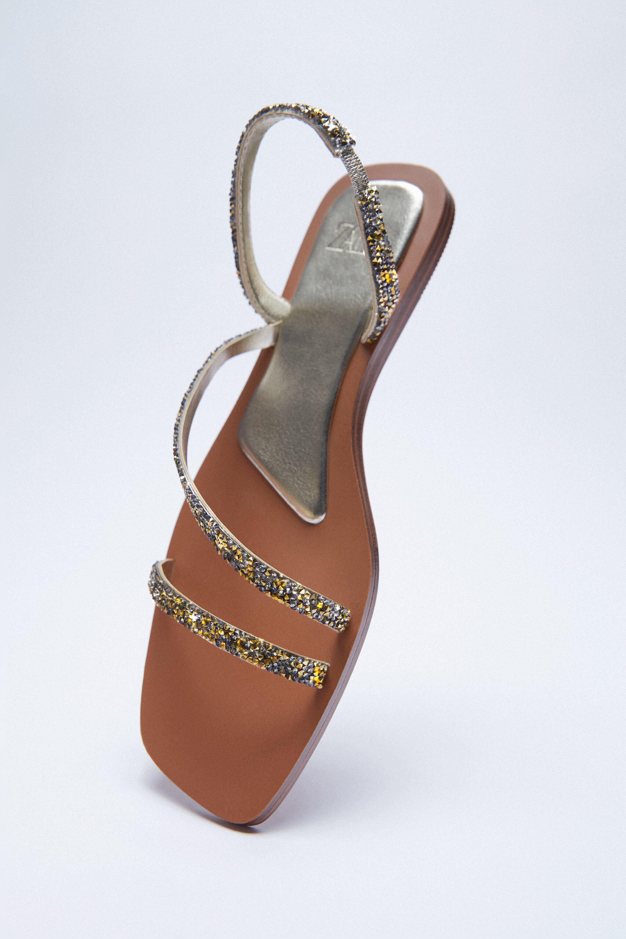 SPARKLY LOW HEELED SANDALS 3