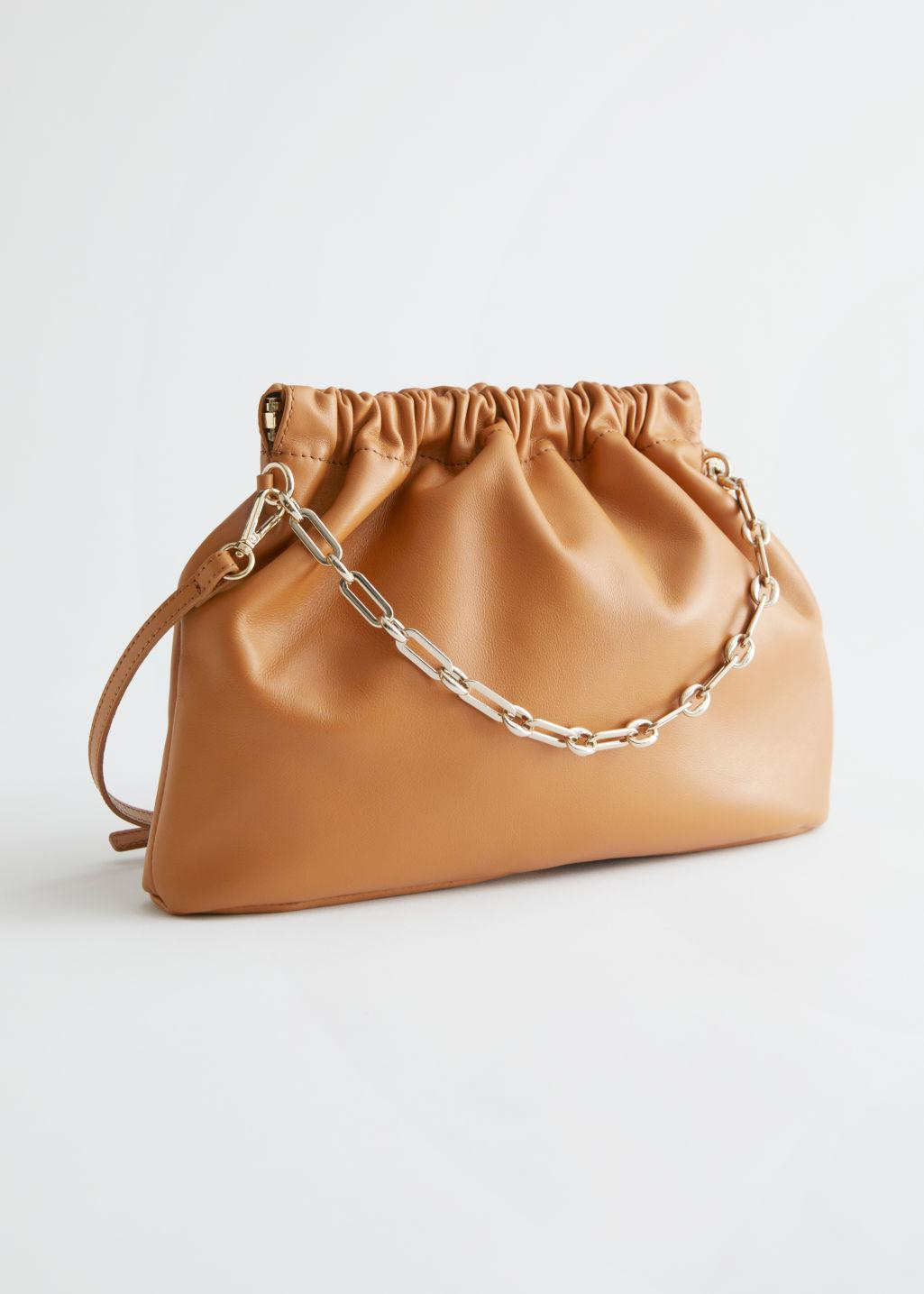 Ruched Leather Chain Strap Bag
