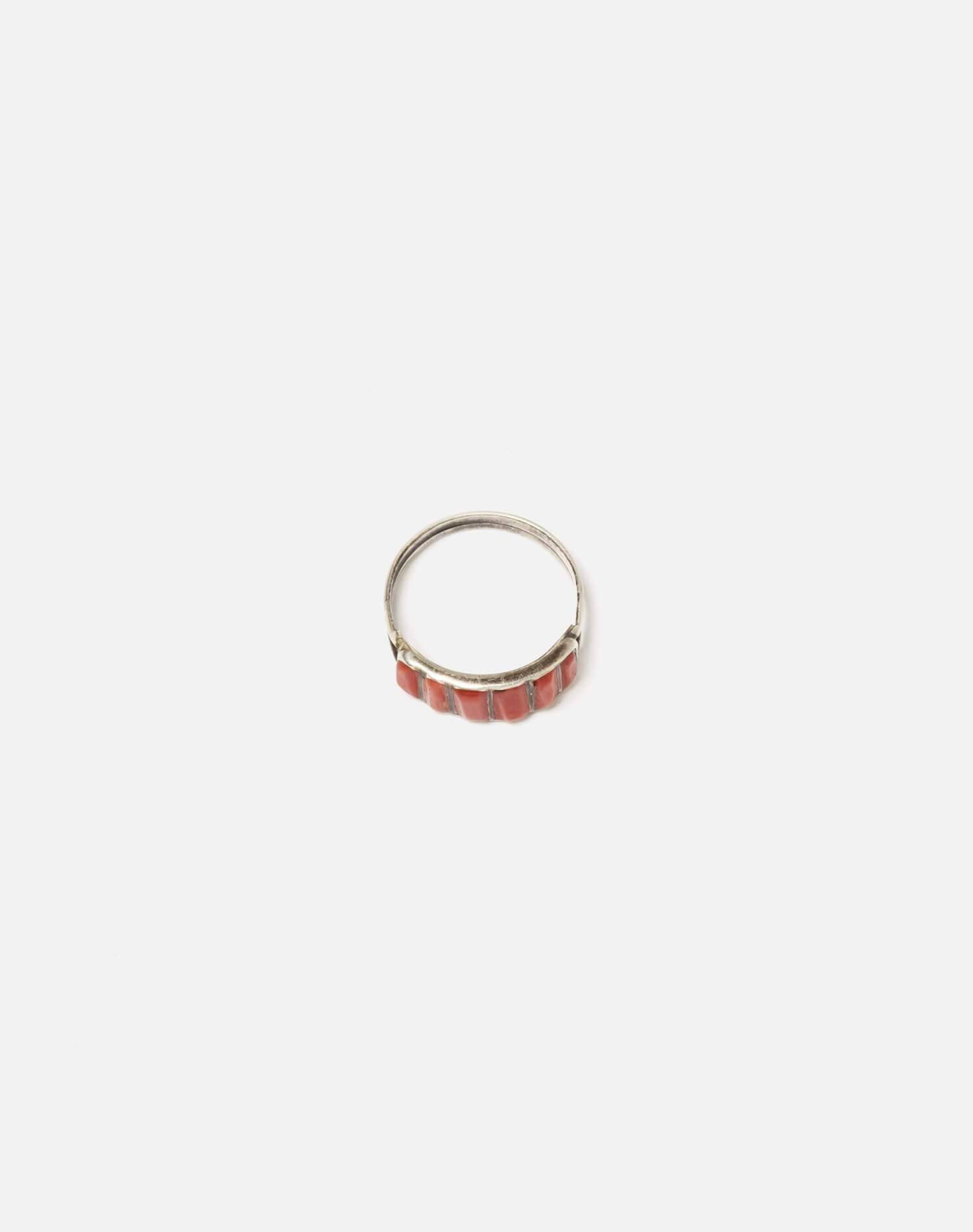 1950s Zuni Inlaid Coral And Sterling Ring - #100 3