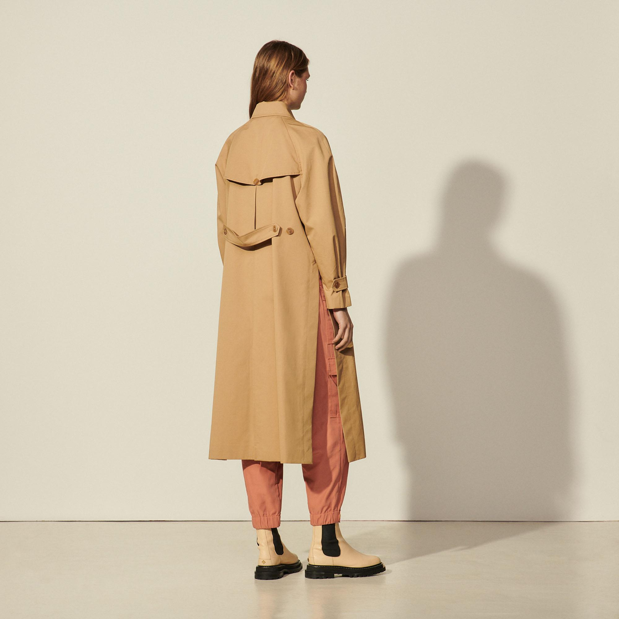 Cotton trench coat with detachable chain 1