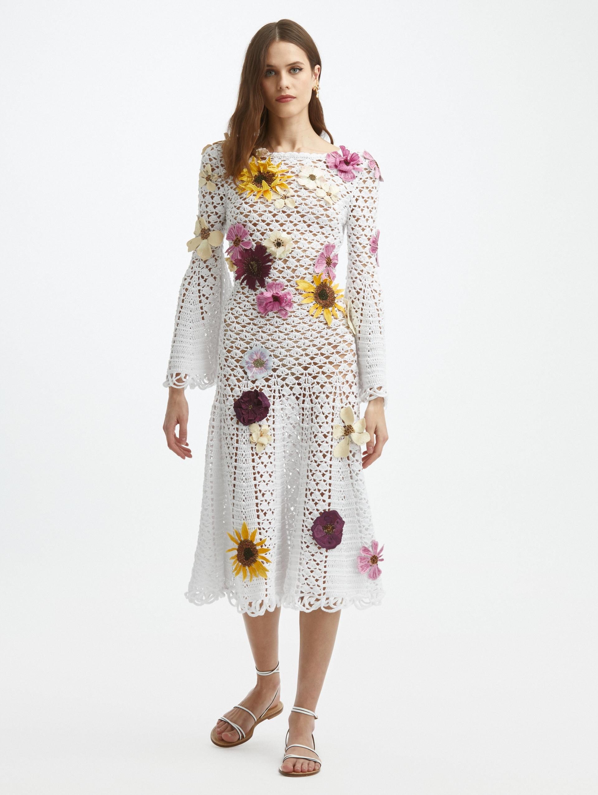 FLORAL EMBROIDERED CROCHET KNIT DRESS