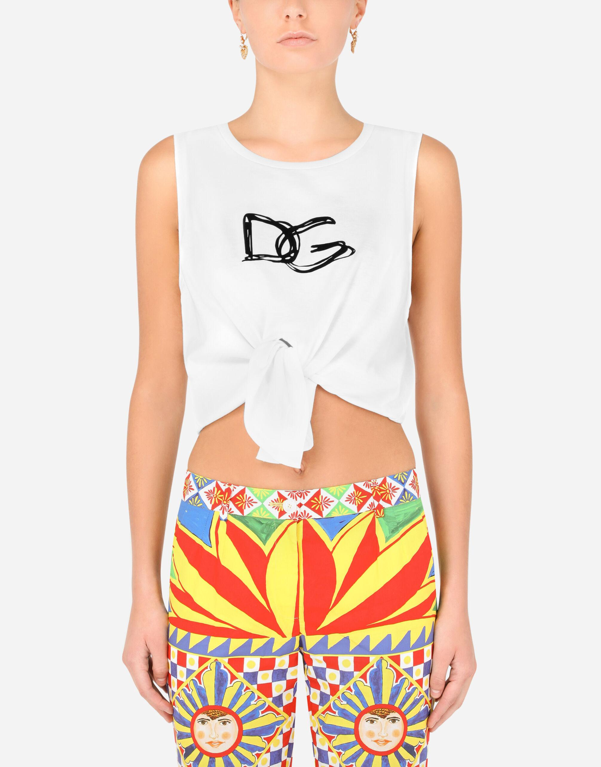 Jersey tank top with tie hem and DG lettering 0