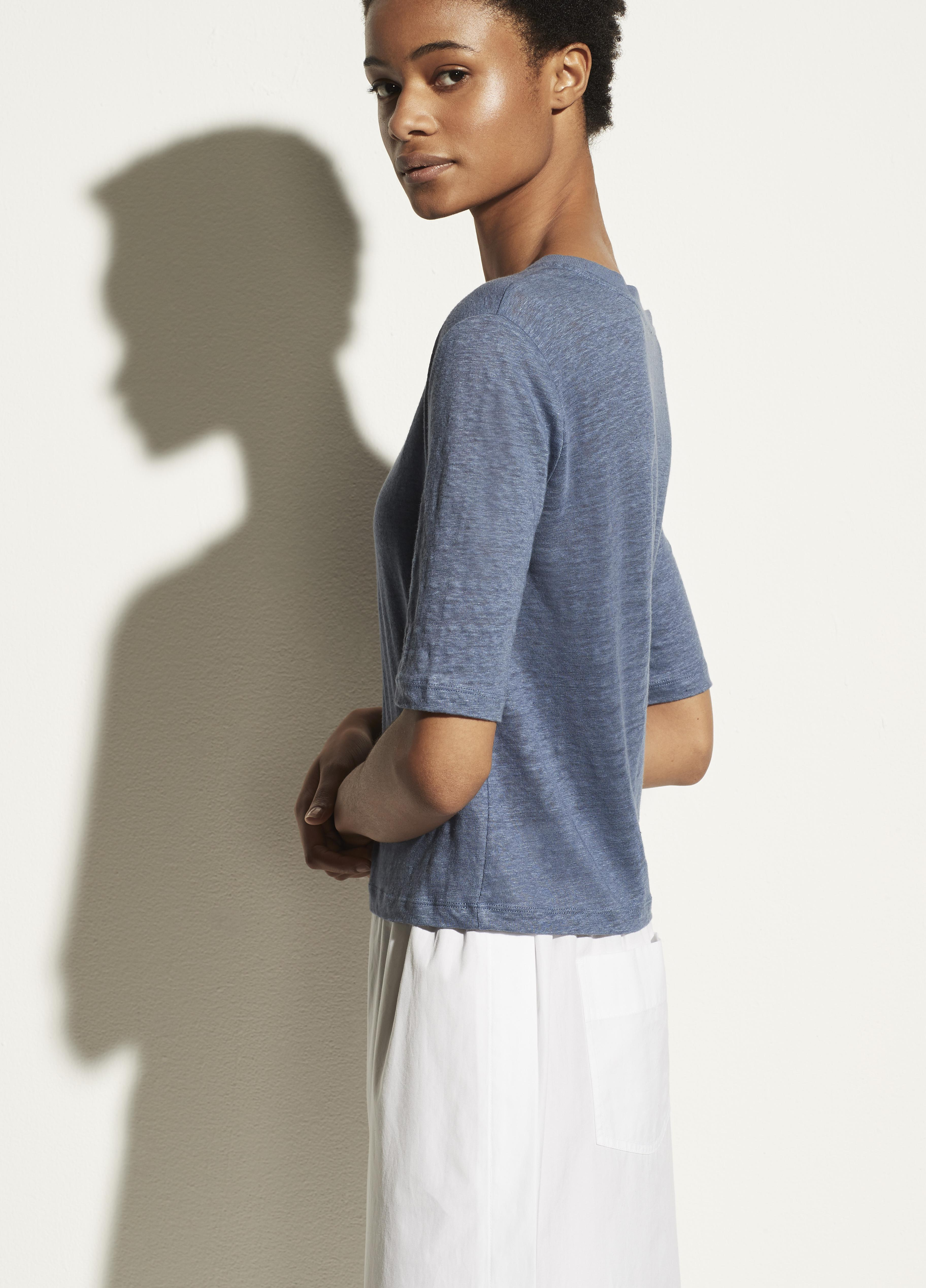 Linen Relaxed Elbow Sleeve Crew 1