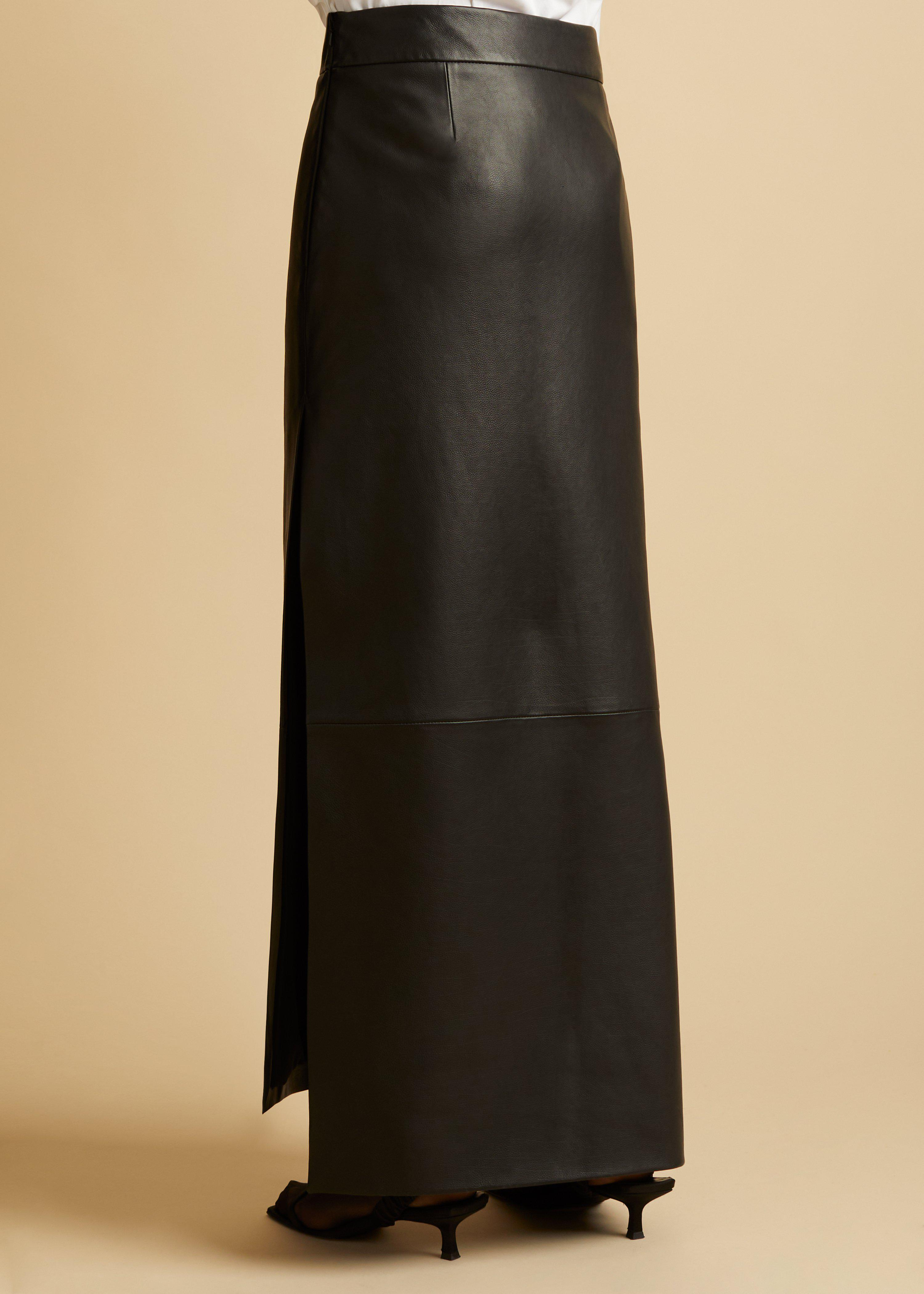 The Myla Skirt in Black Leather 2