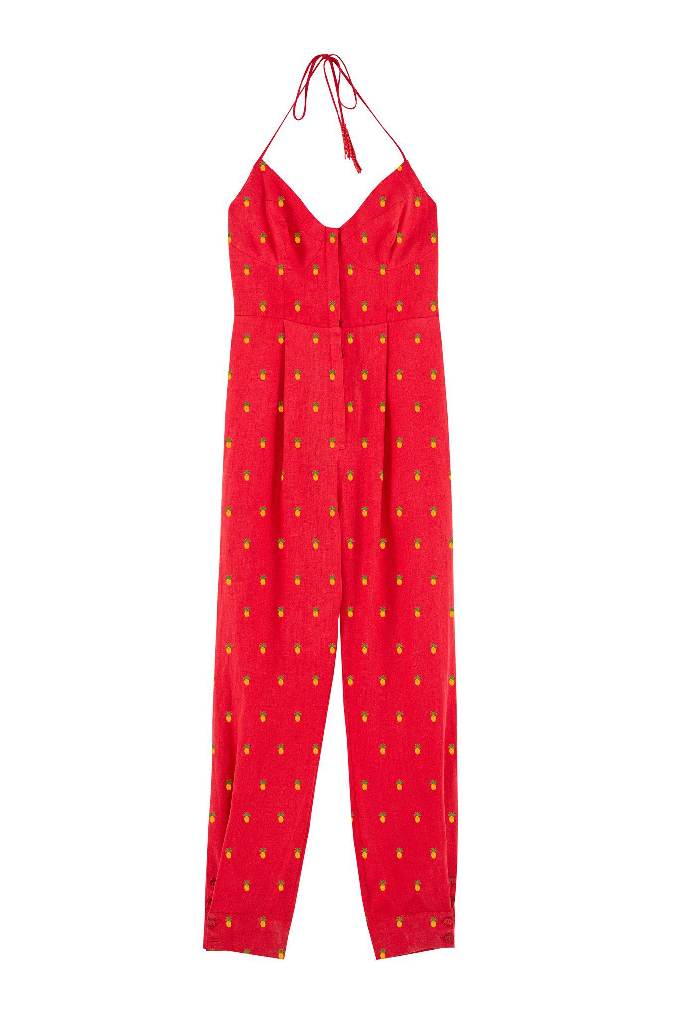 EMBROIDERED PINEAPPLES RED JUMPSUIT 4