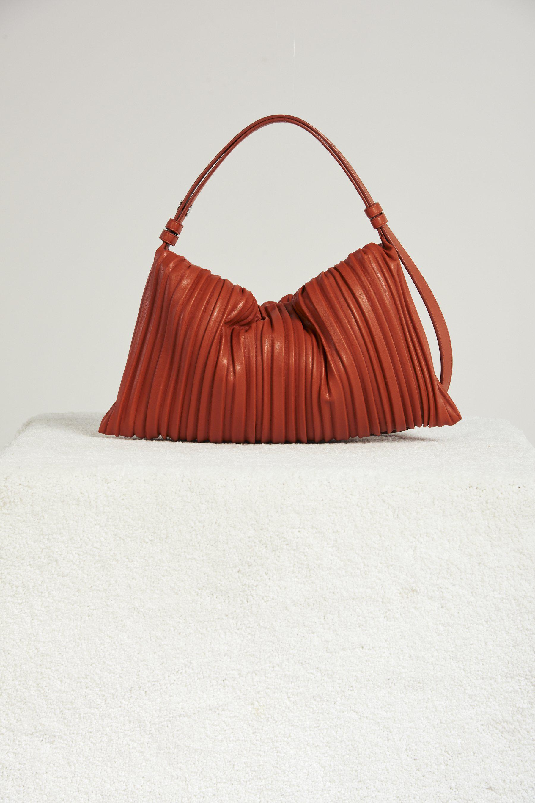 Vegan Puffin in Sepia Brown Pleated