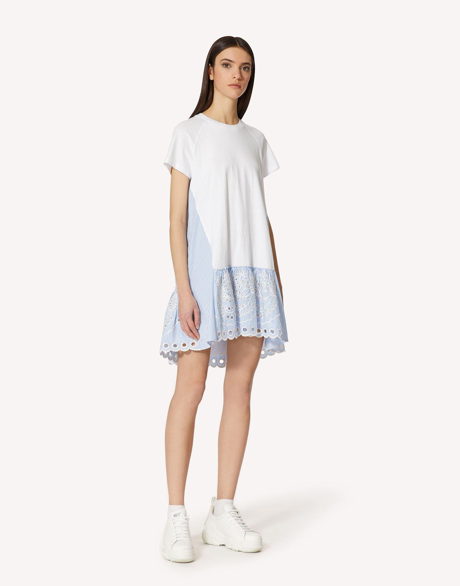 T-SHIRT DRESS WITH STRIPED COTTON POPLIN AND SANGALLO EMBROIDERY 2