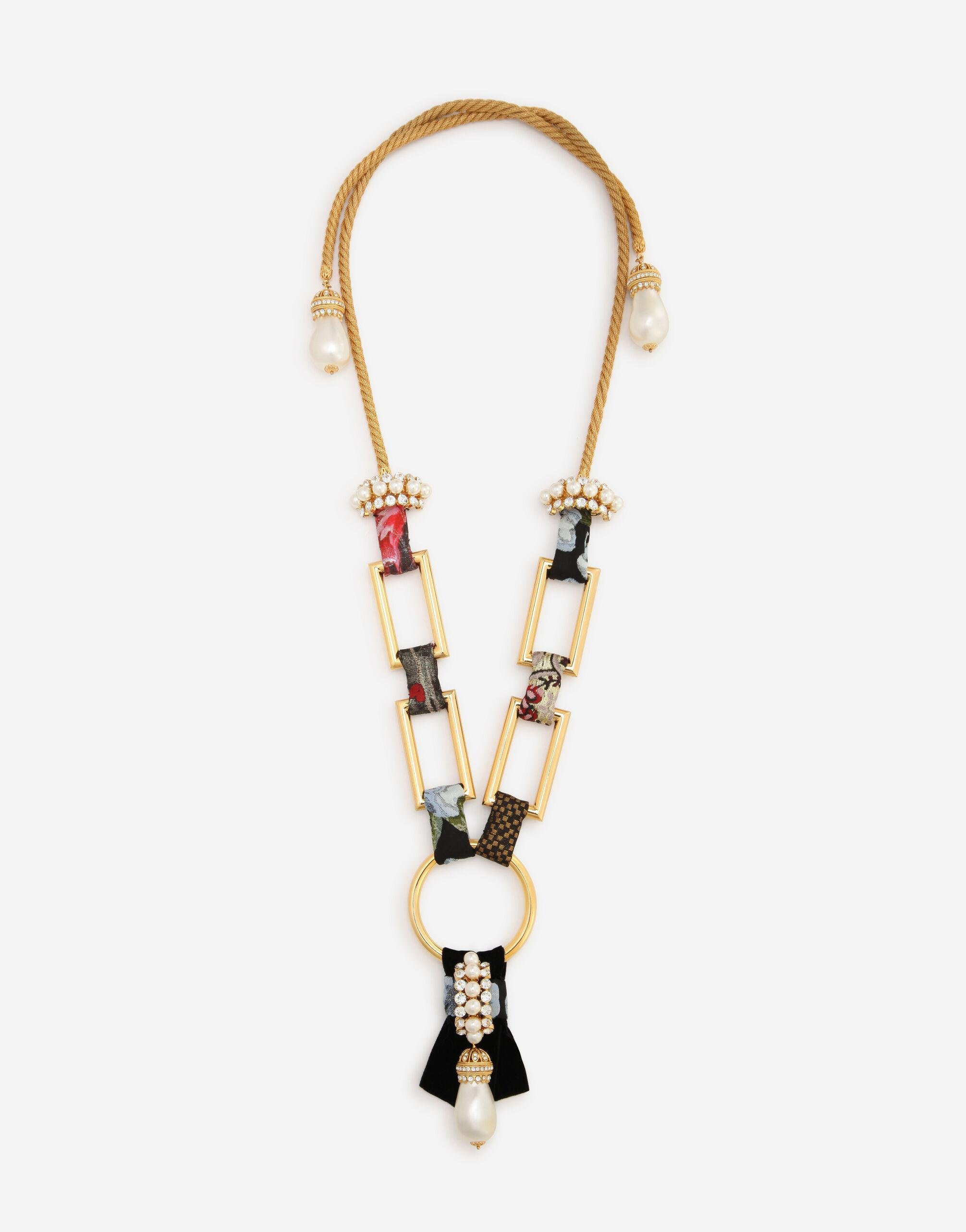 Long necklace with patchwork details