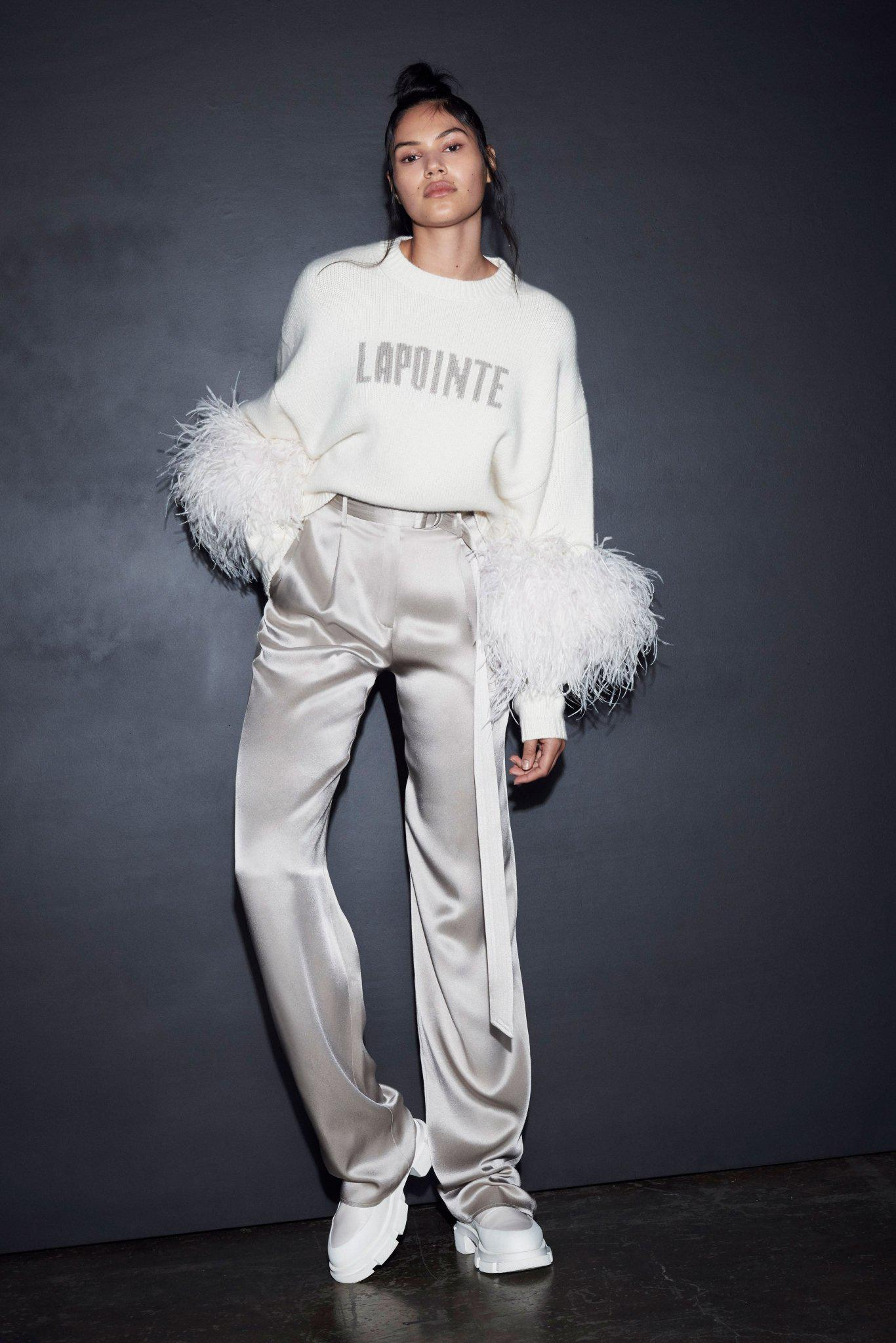LAPOINTE SWEATER WITH FEATHERS