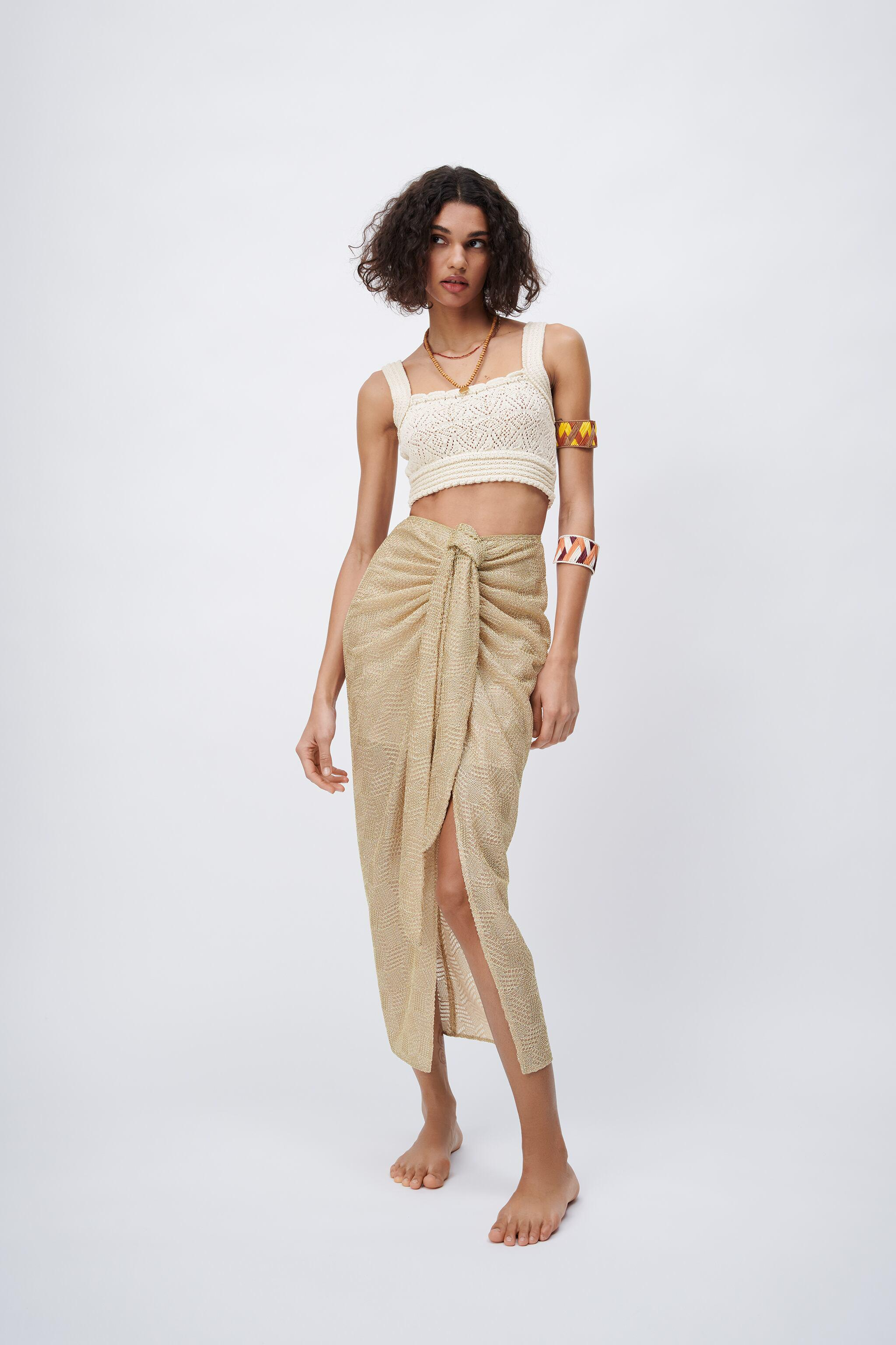 KNOTTED MIDI SKIRT