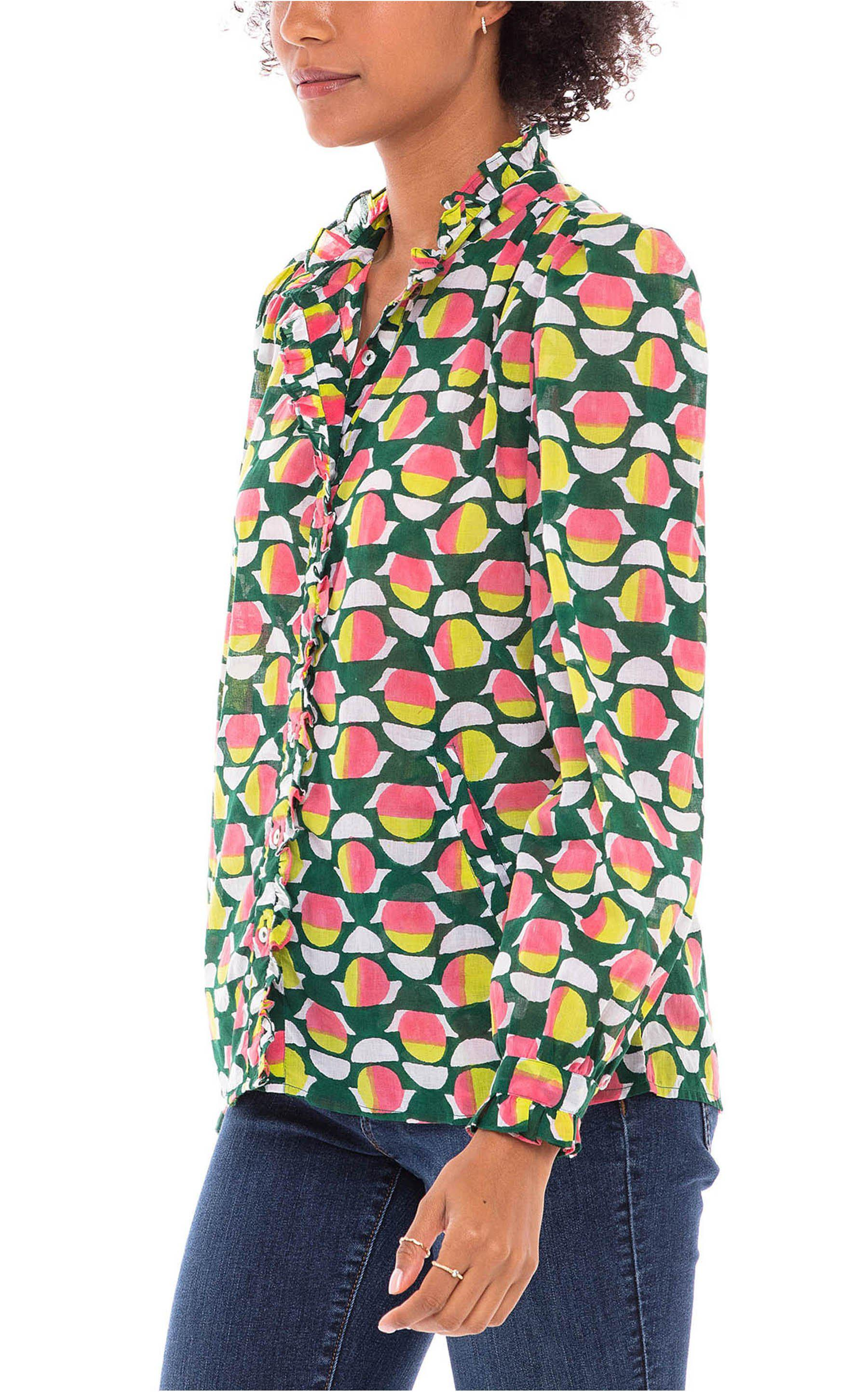 Chrissie Shirt Curlew Curve Lime Green 1