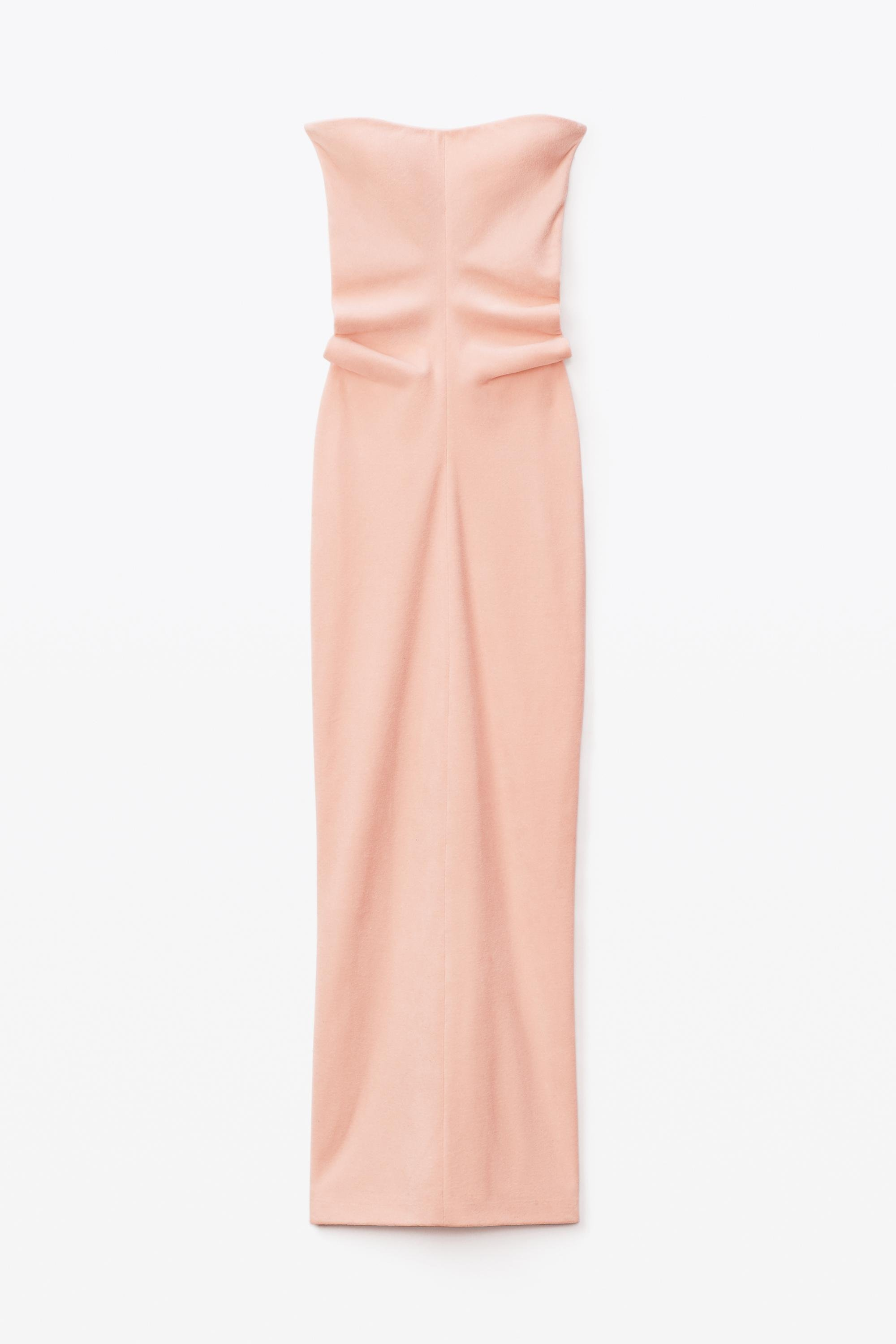 strapless column dress in ruched velour 1