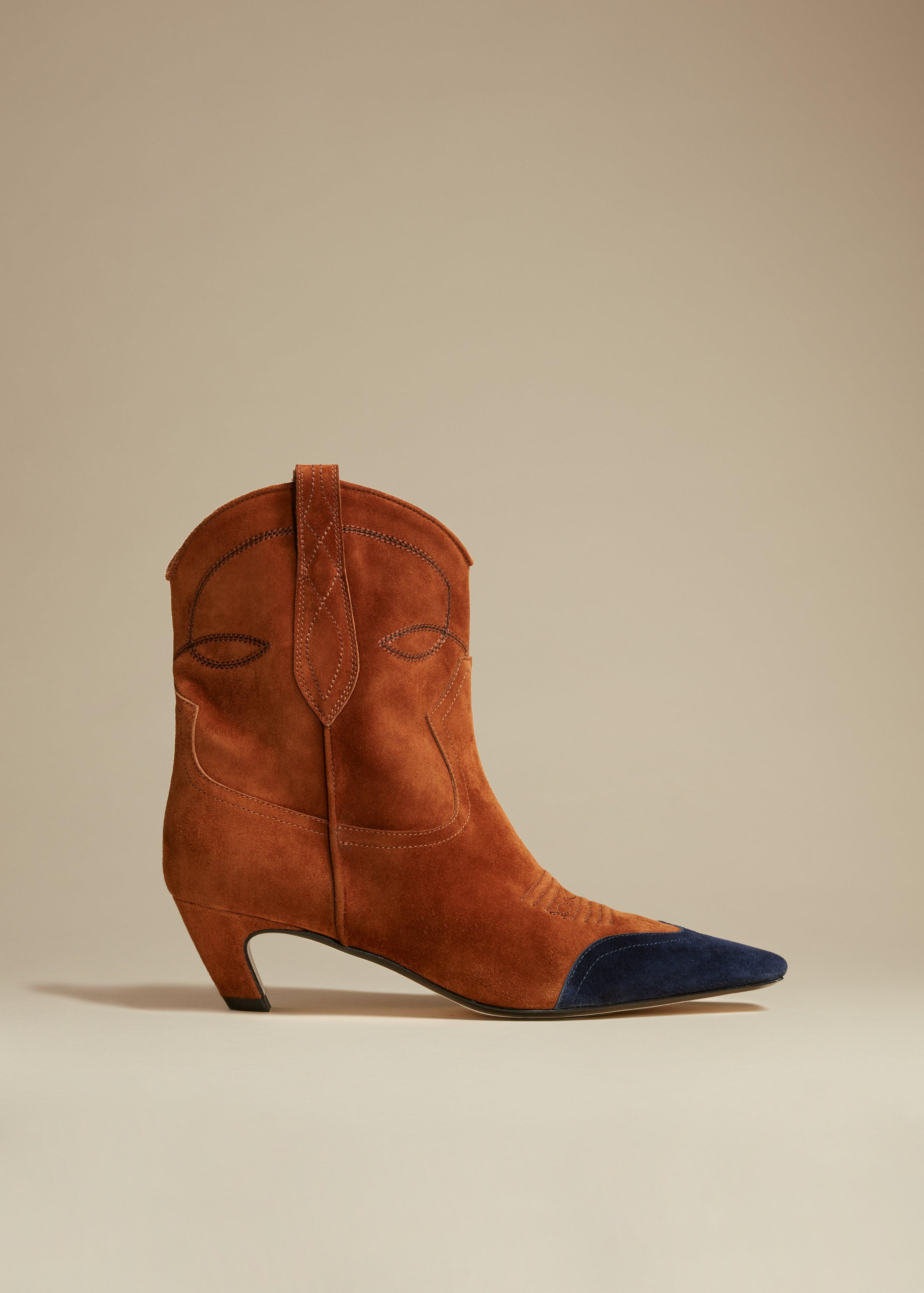 The Dallas Ankle Boot in Caramel and Navy Suede