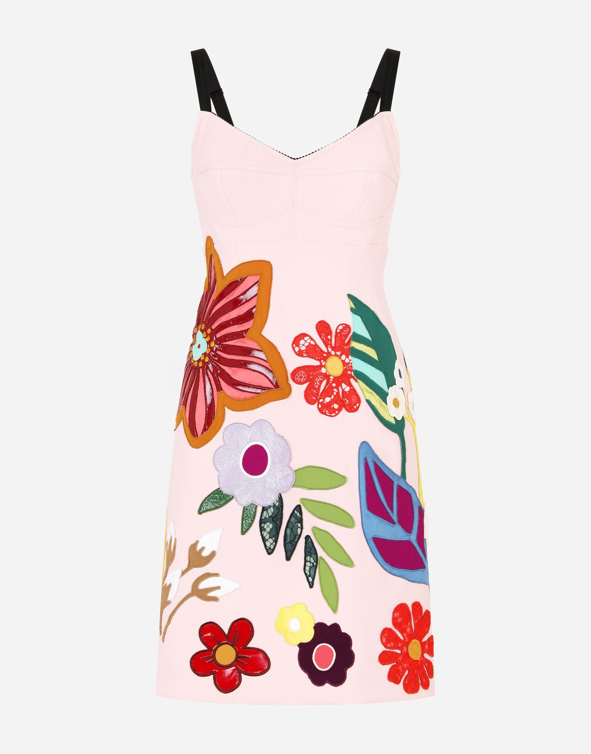Short cady slip dress with floral patches 5