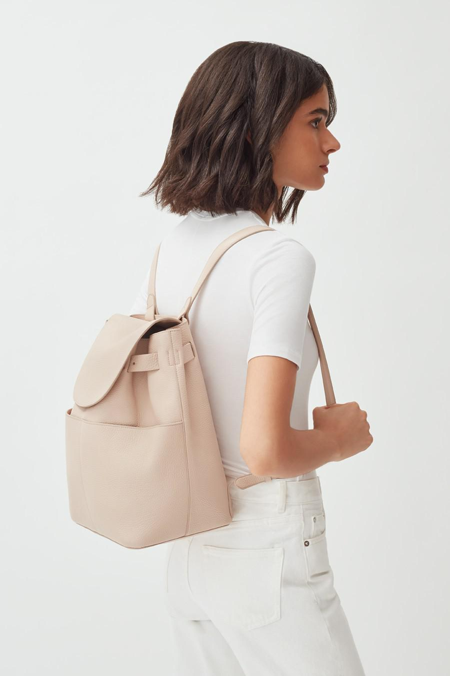 Women's Leather Backpack in Blush Pink | Pebbled Leather by Cuyana 6