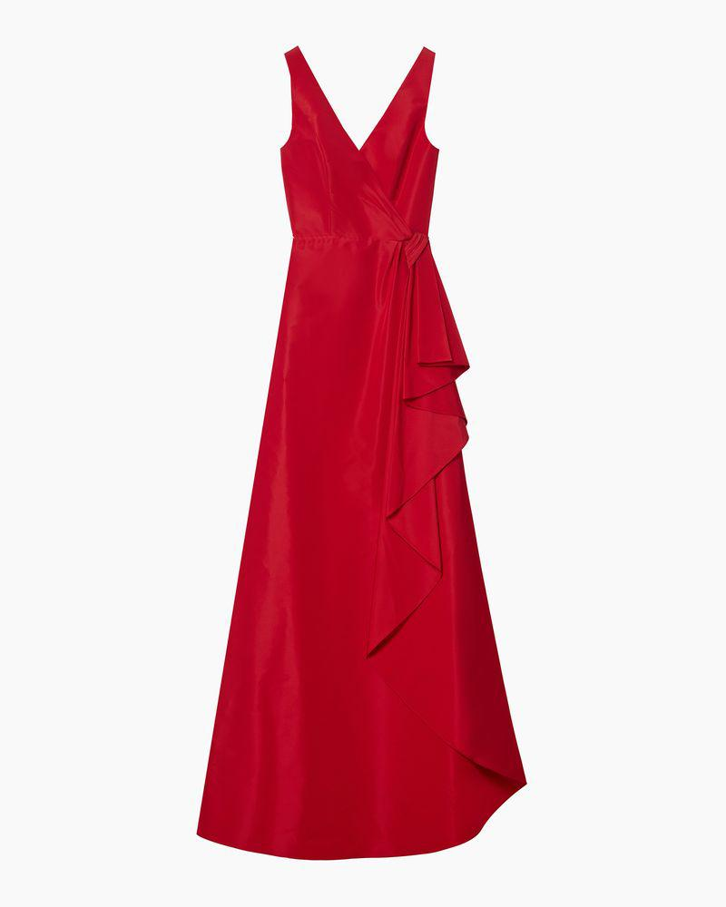 V-neck Gown With Cascade Draped Skirt 3