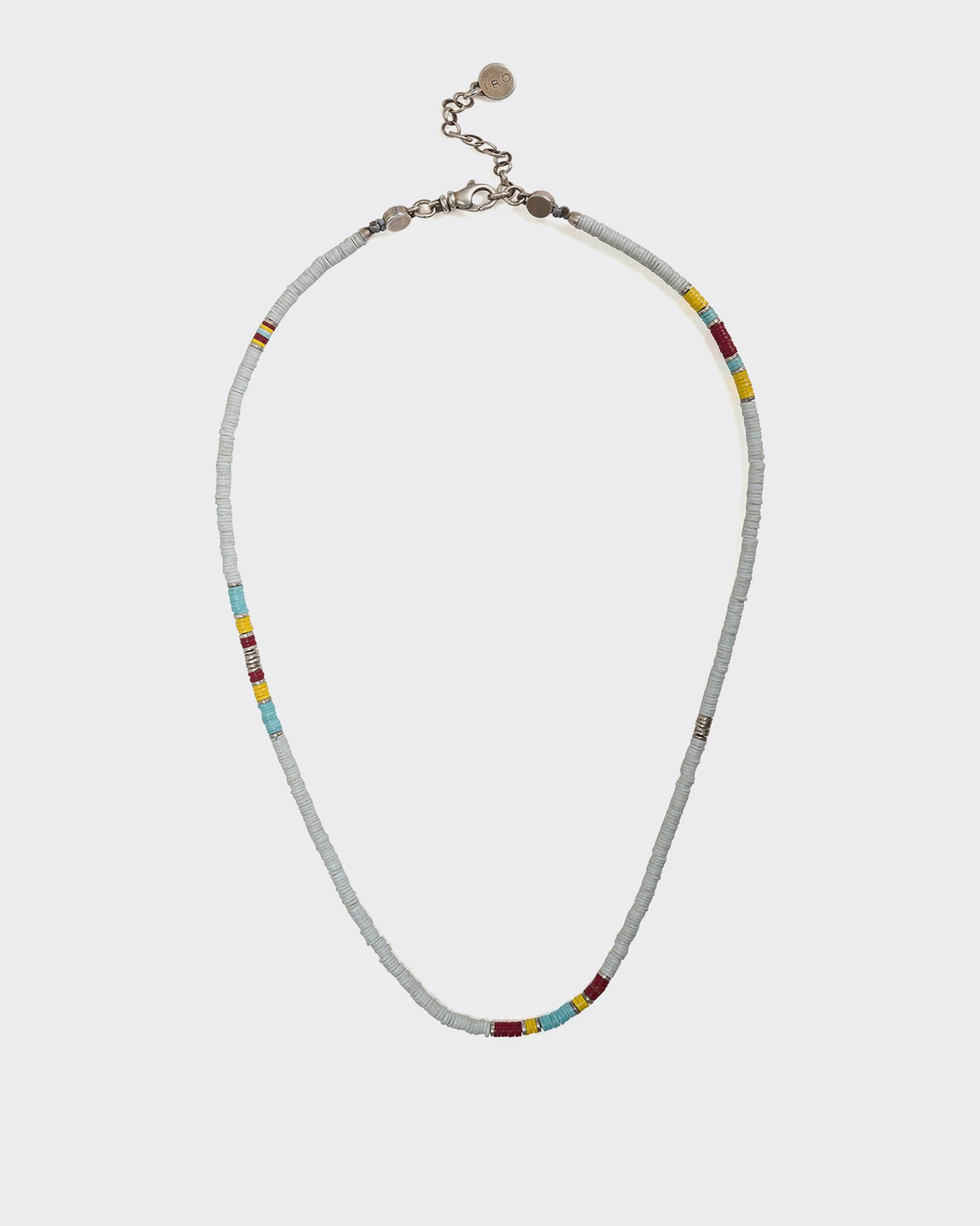 MOKAITE SILVER AND AFRICAN VINYL DISC NECKLACE