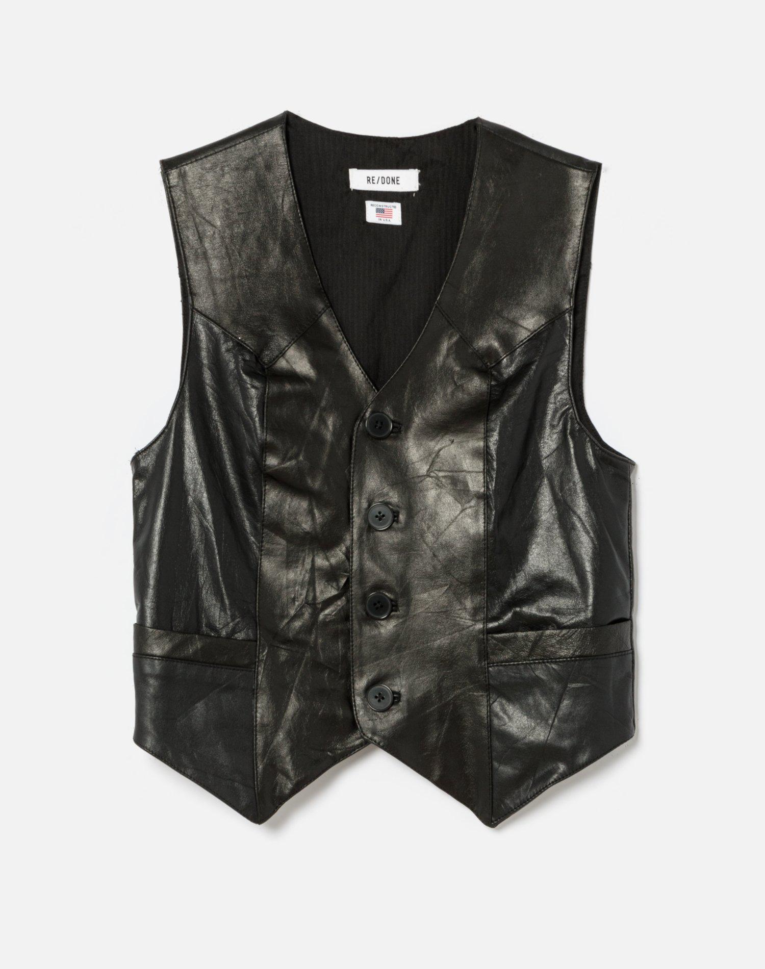 70s Upcycled Leather Vest