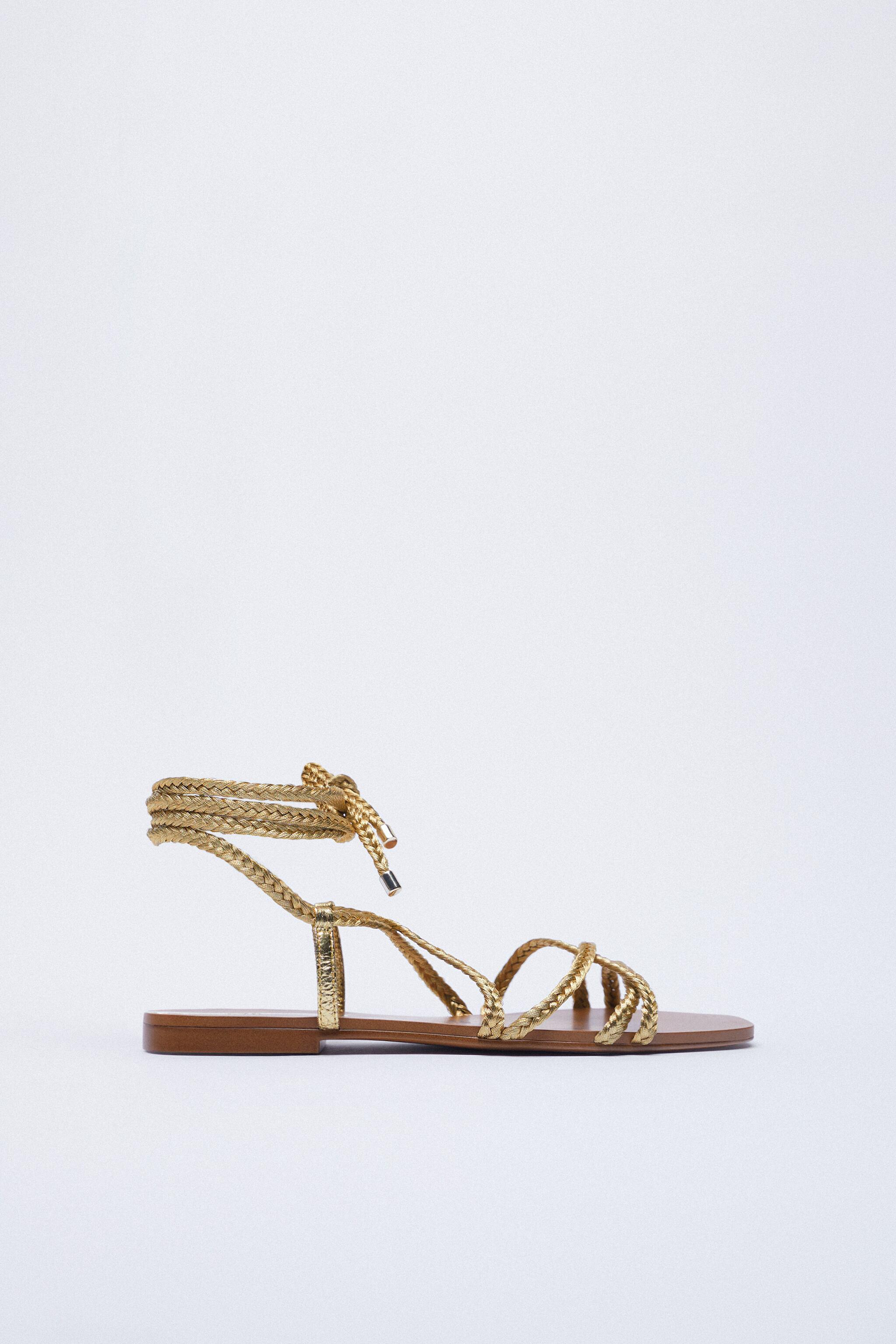 LOW HEEL WOVEN METALLIC SANDALS WITH TIED ANKLE 1