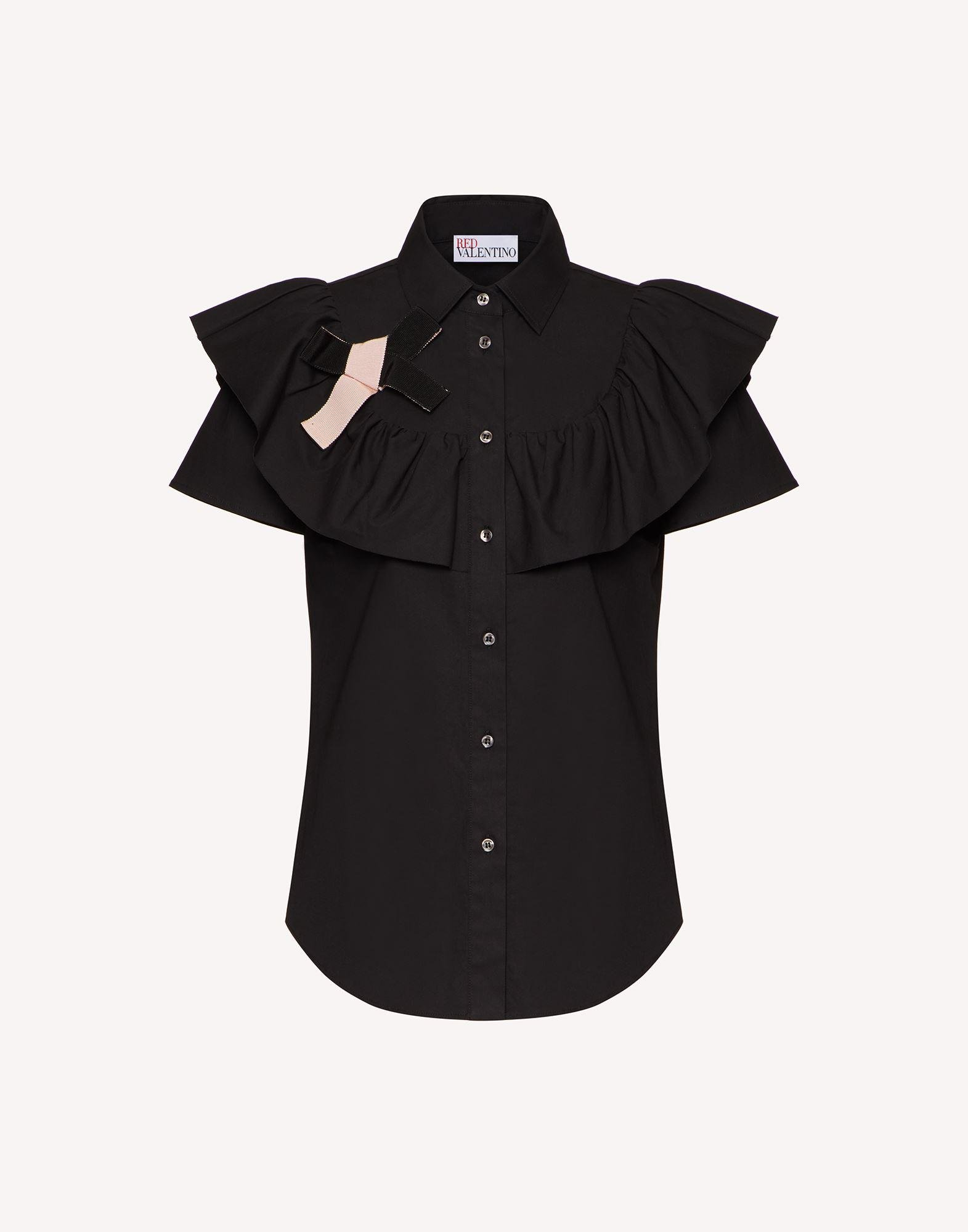 COTTON POPLIN SHIRT WITH RUFFLE AND BOW DETAIL 4