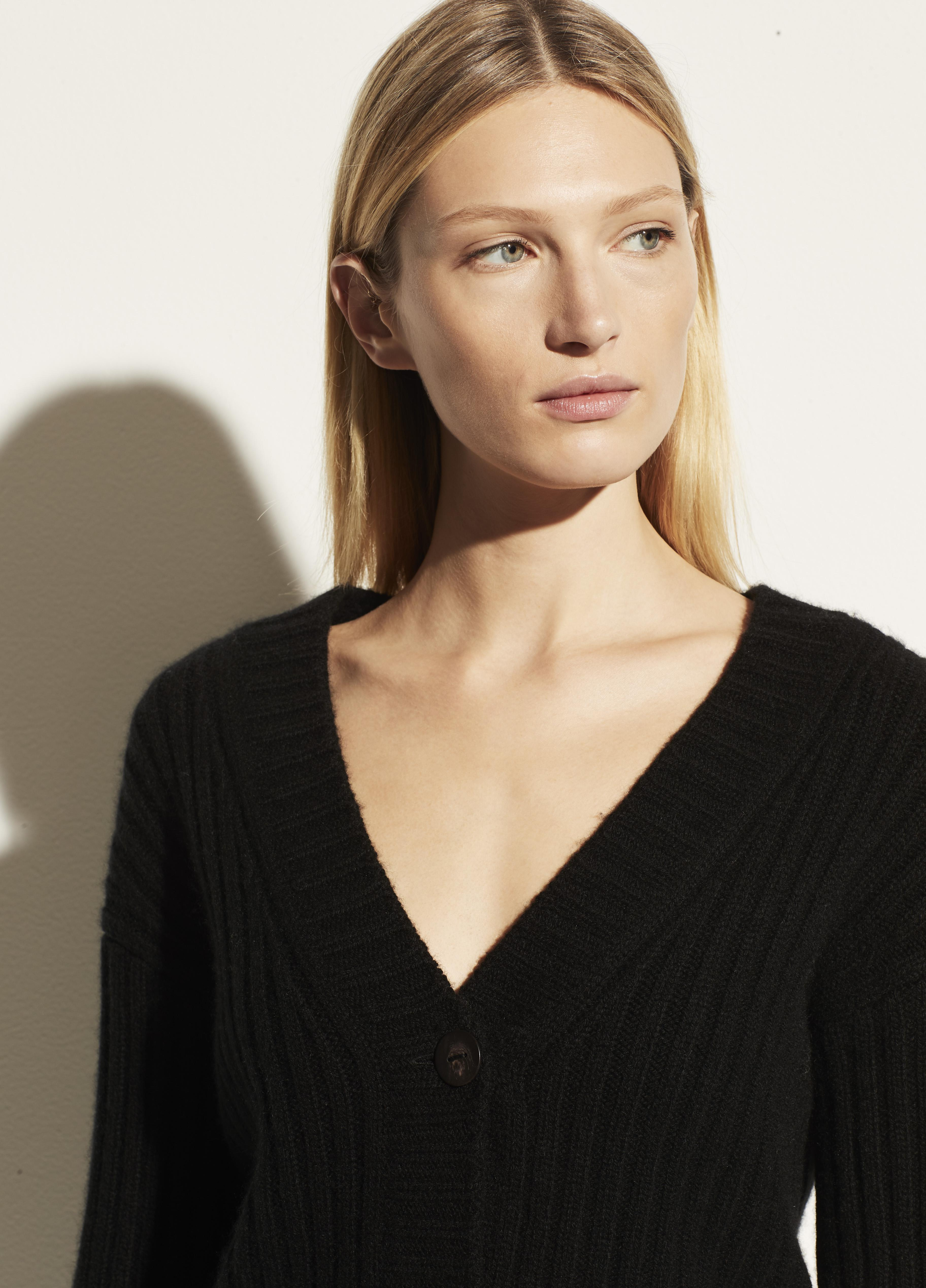 Open Neck Ribbed Cashmere Cardigan