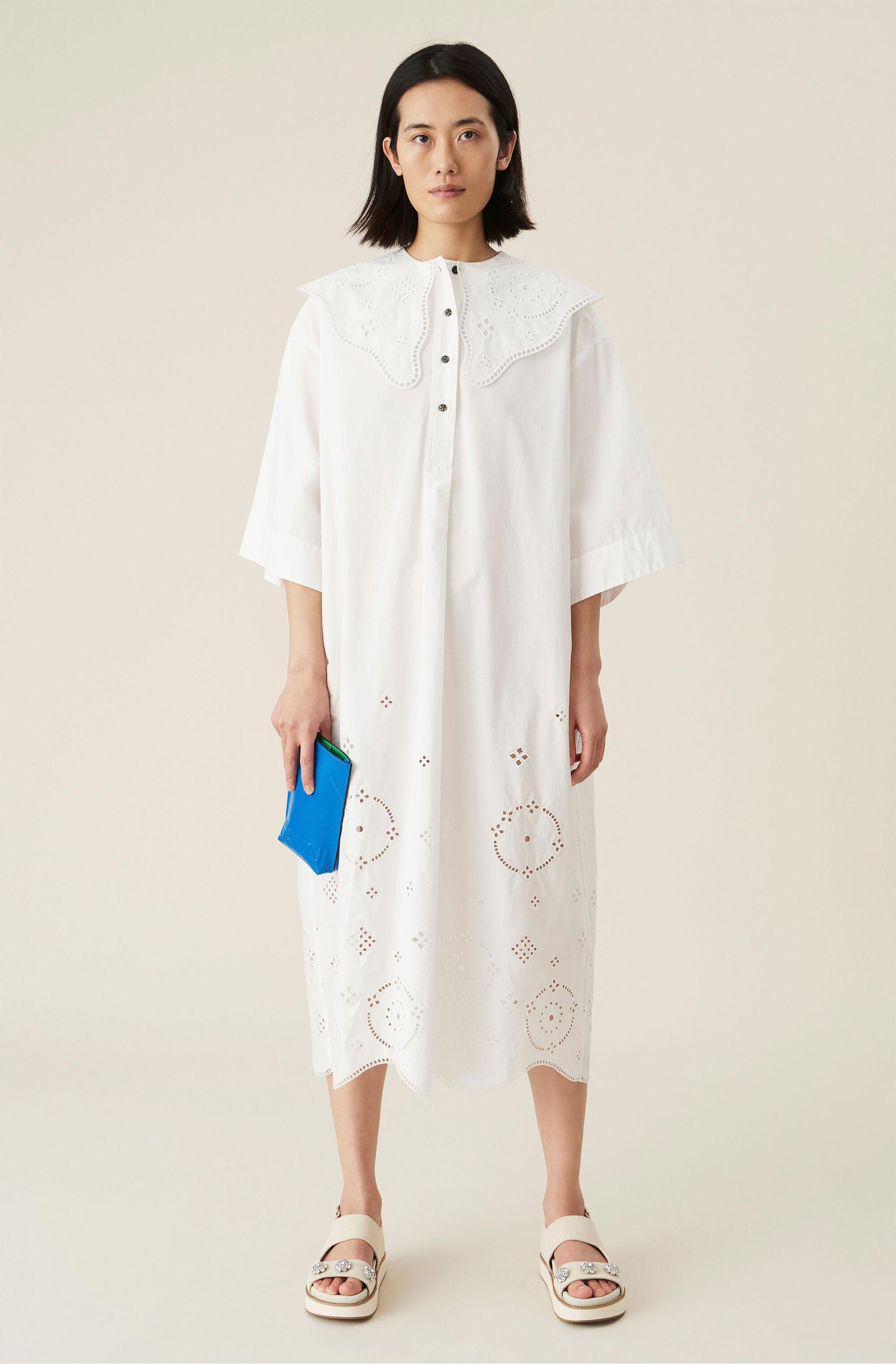 Oversized Broderie Anglaise Midi Dress