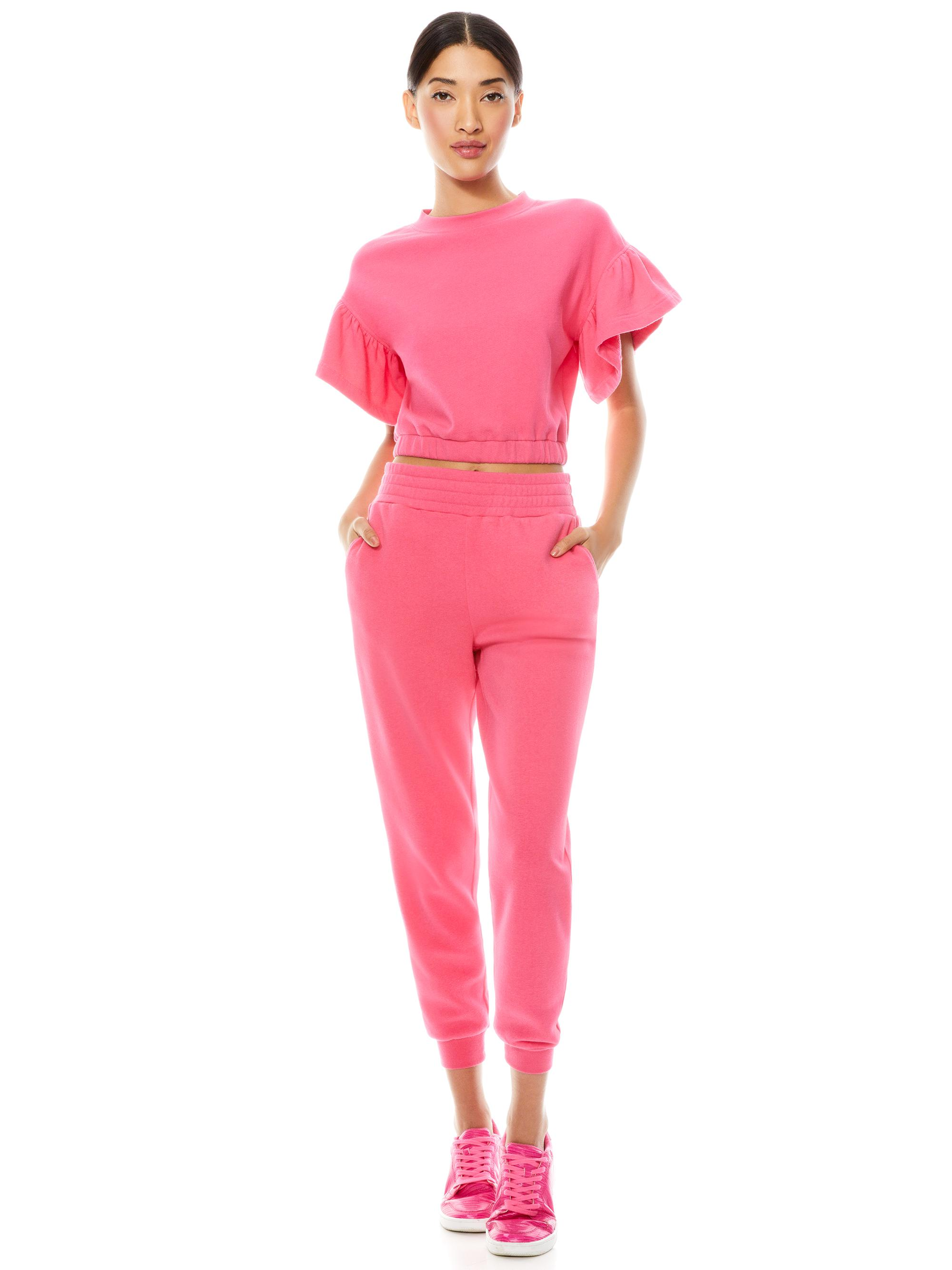 JOLINE RUFFLE SLEEVE CROPPED PULLOVER 2