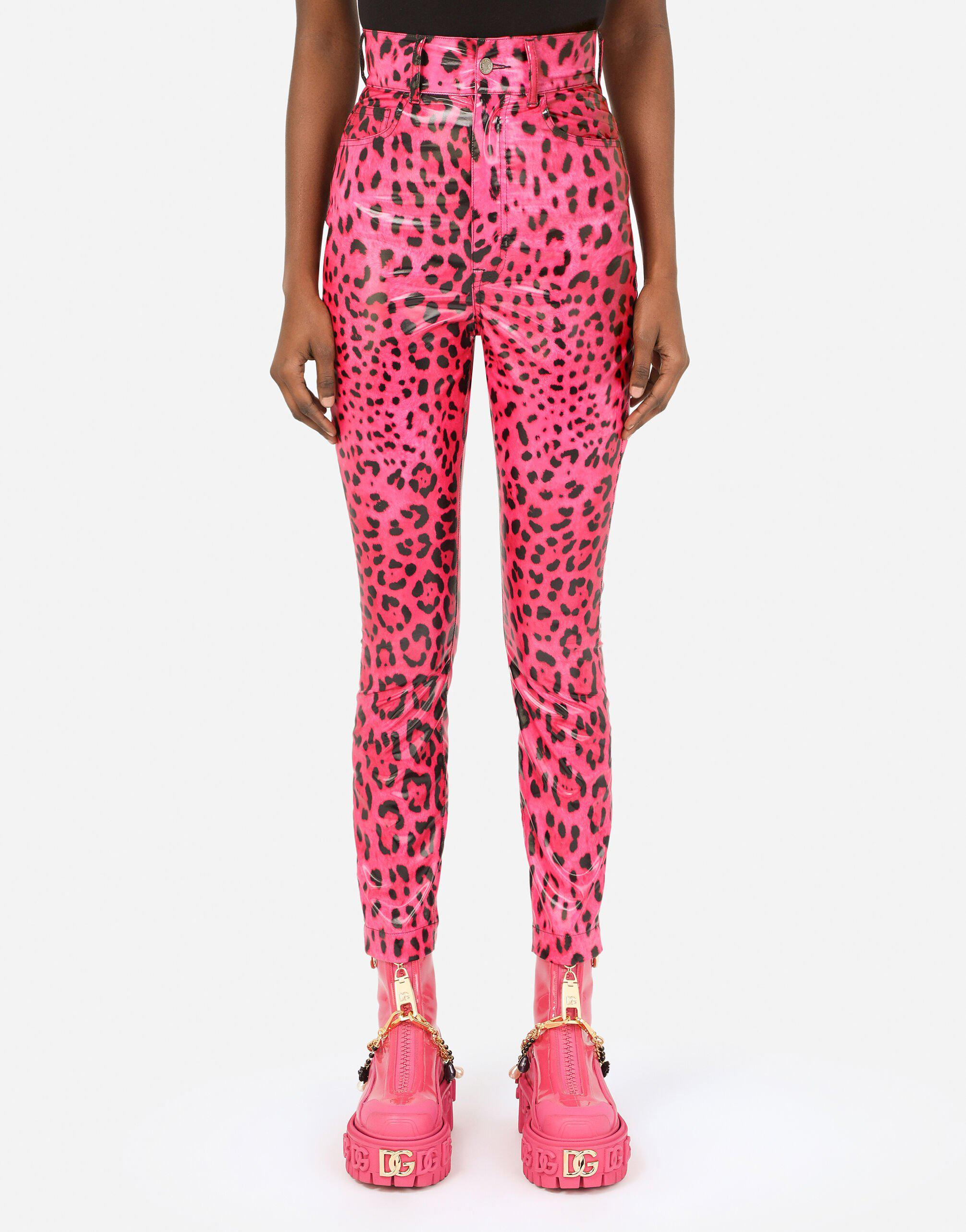 Foiled nylon jeans with neon leopard print