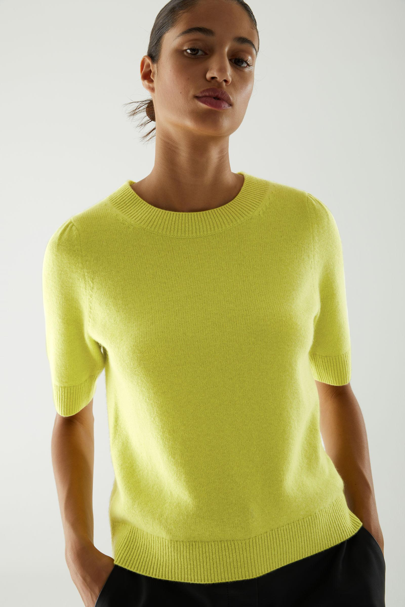 CASHMERE PUFF SLEEVE KNITTED TOP