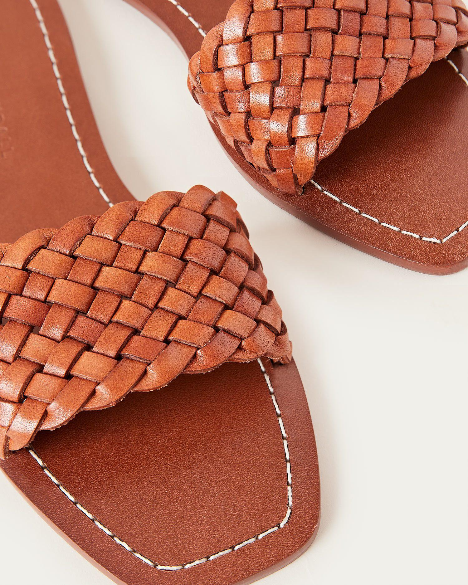 Joey Woven Leather Slide Timber 3