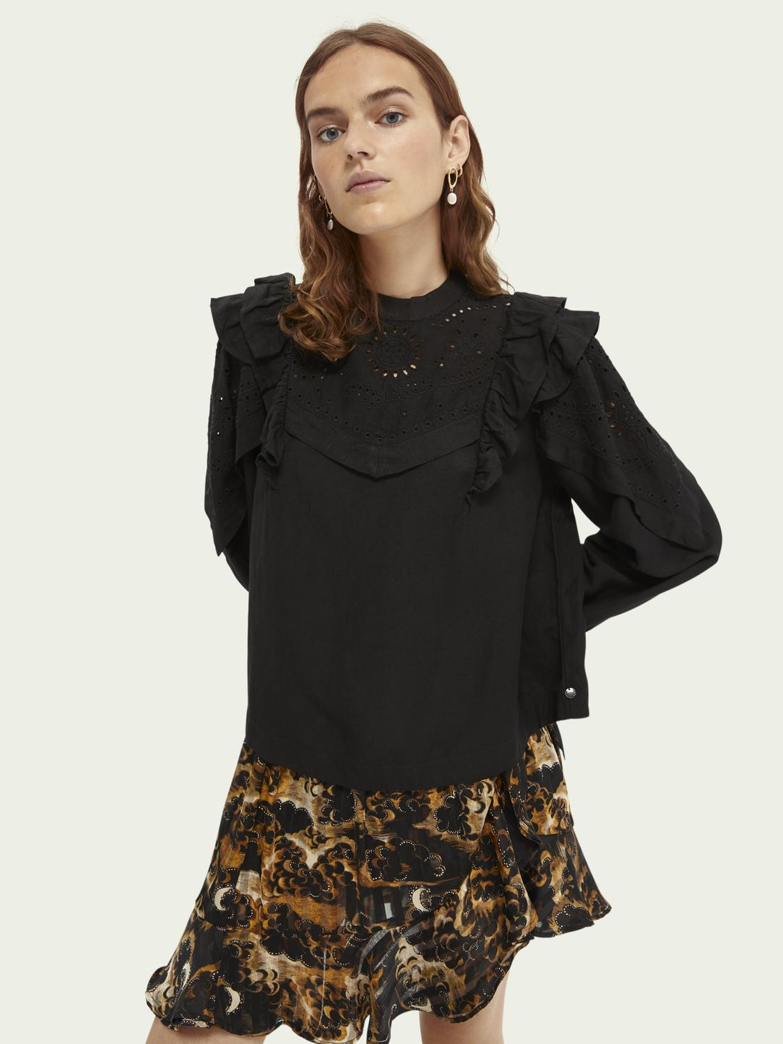 Embroidered balloon-sleeved top
