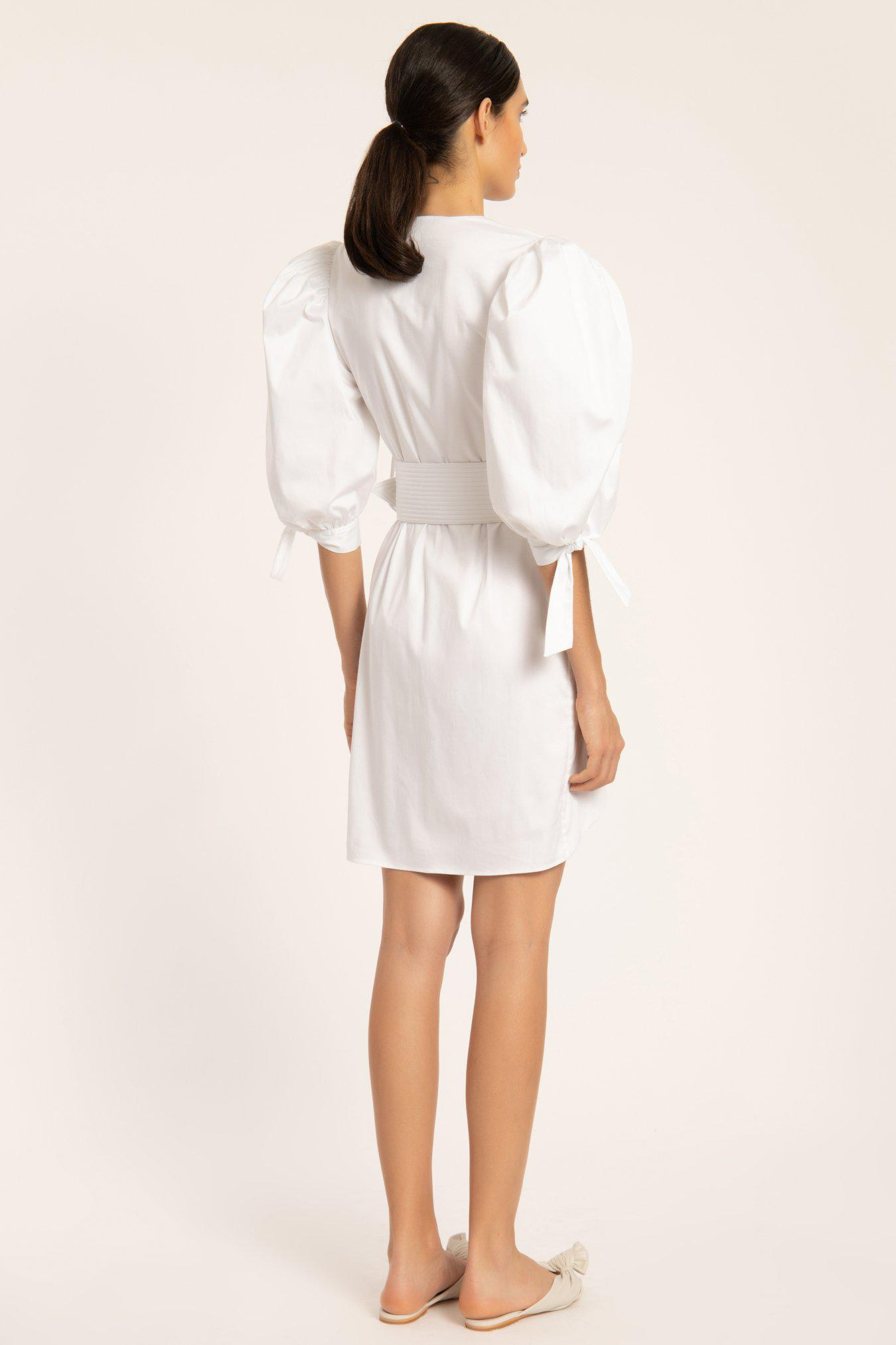 Solid Puff-sleeved Short Dress With Belt 2