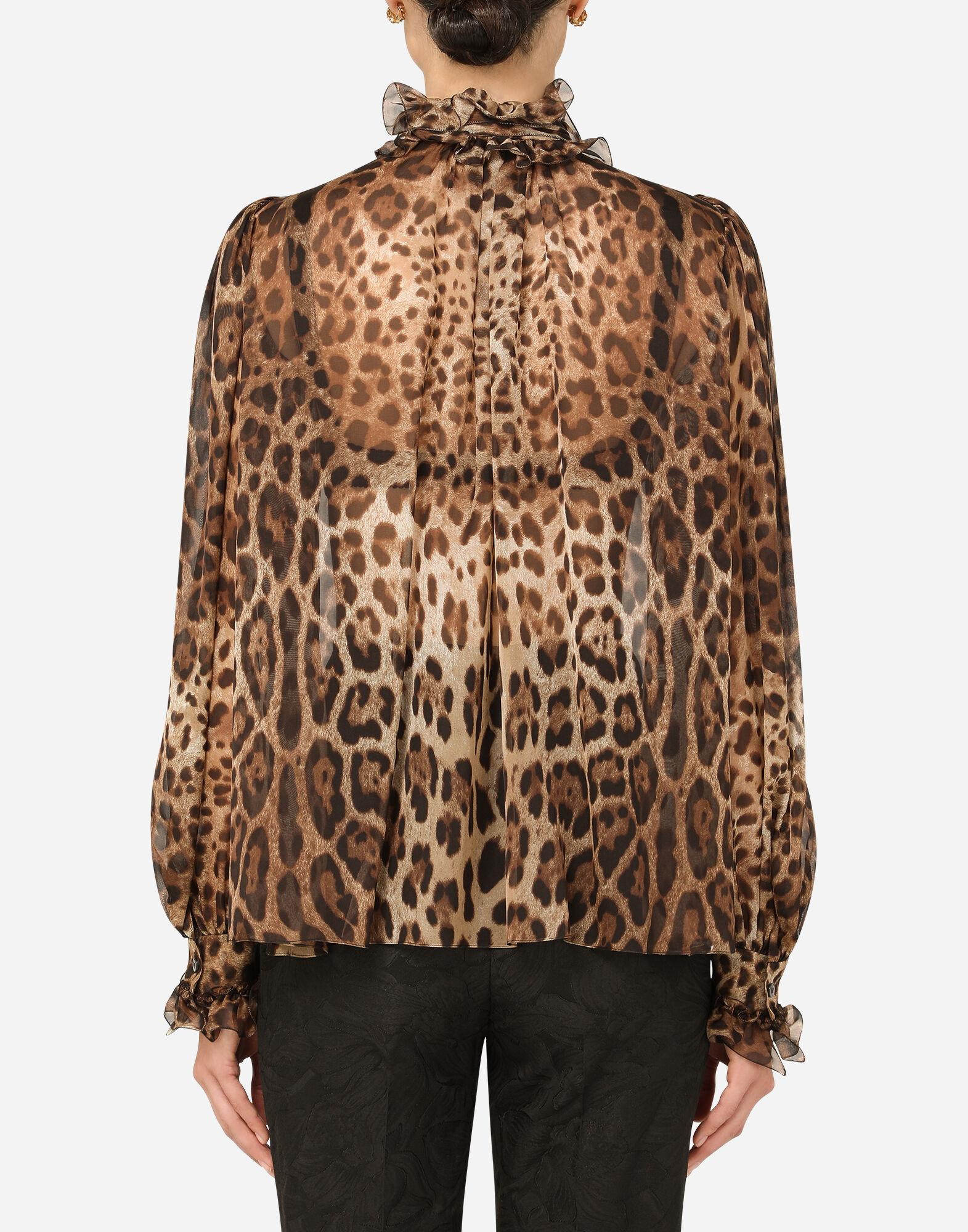 Leopard-print chiffon shirt with ruches and pussy-bow 1