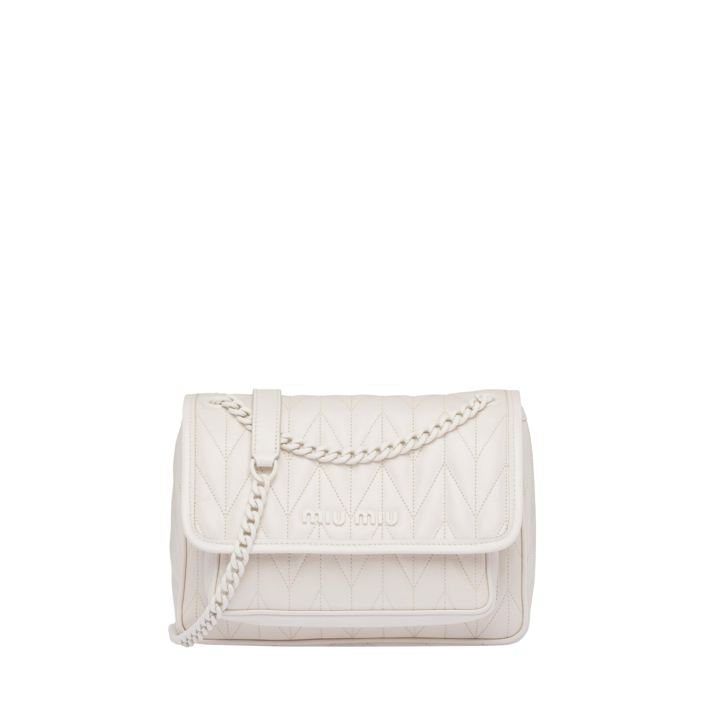 Quilted Shiny Leather Shoulder Bag Women Chalk White