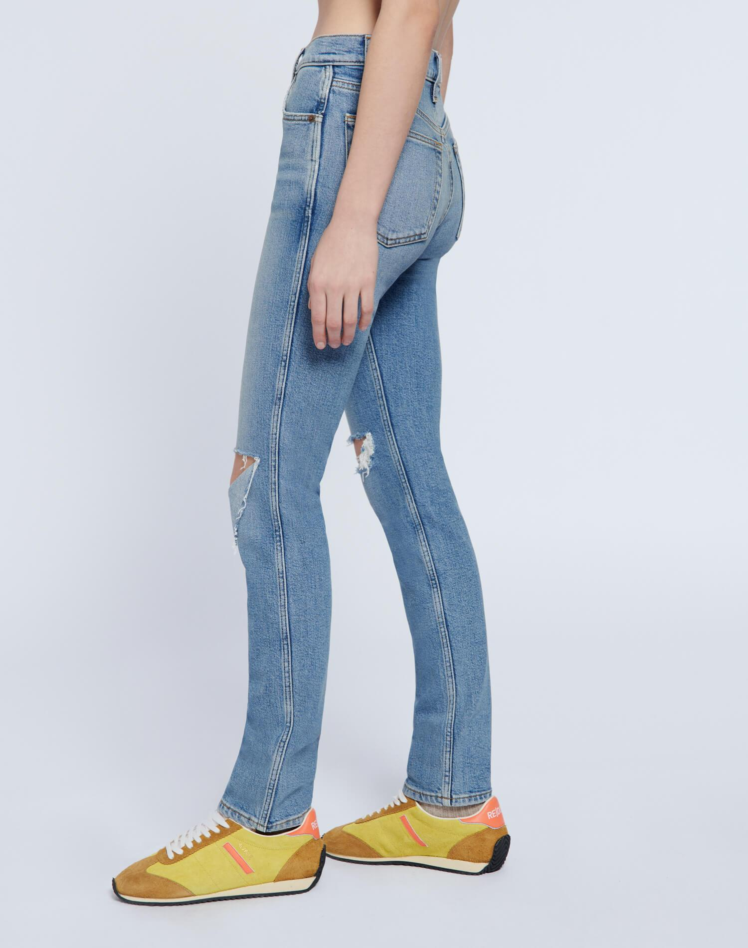 80s Comfort Stretch Slim Straight - Brisk Blue with Rips 2