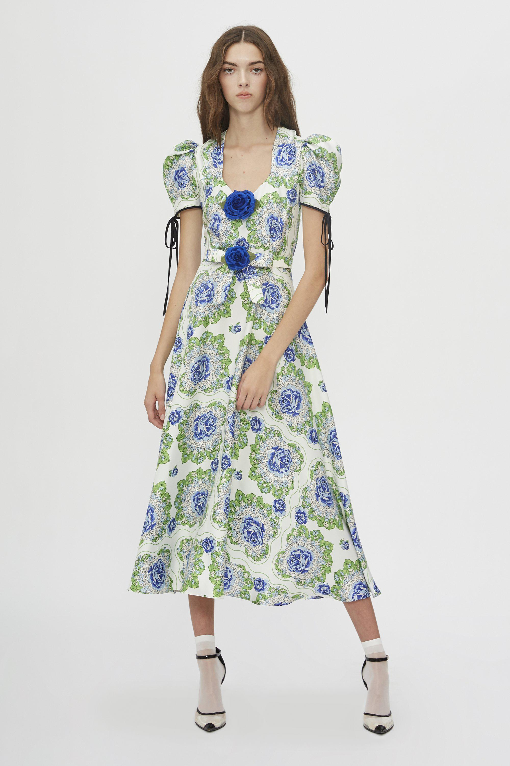 BELTED FLORAL PRINTED SILK TWILL DRESS