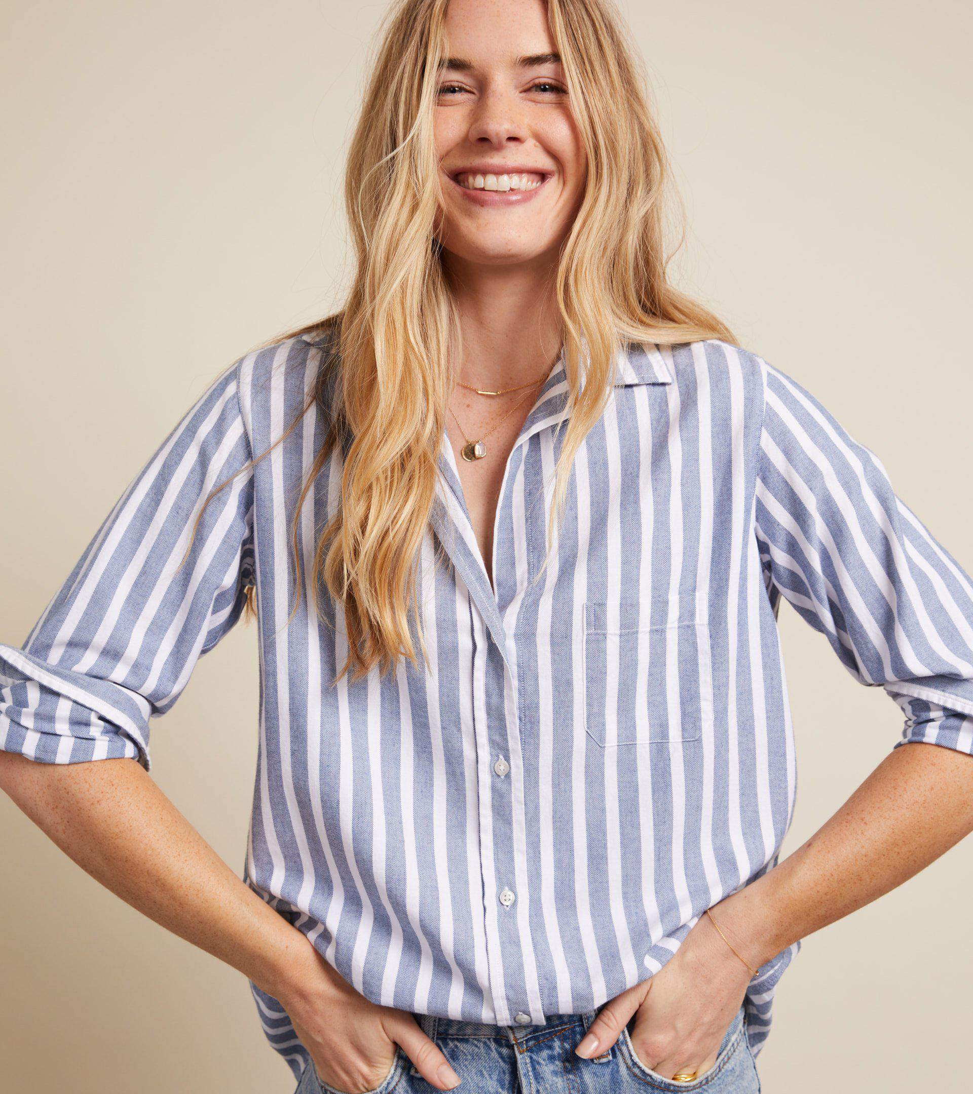 The Hero Button-Up Shirt Blue Melange Stripes, Feathered Flannel