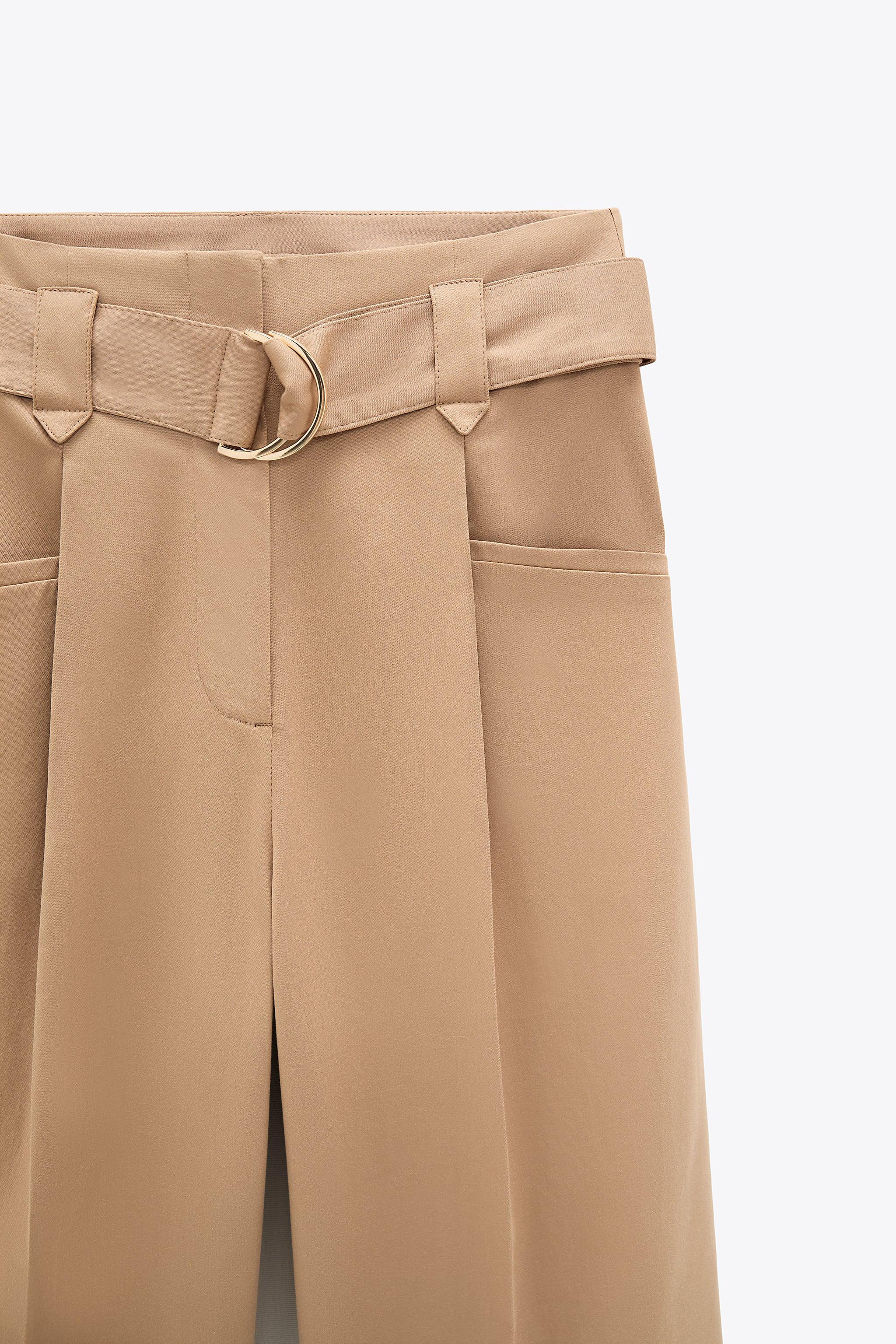 WIDE LEG BELTED PANTS 8