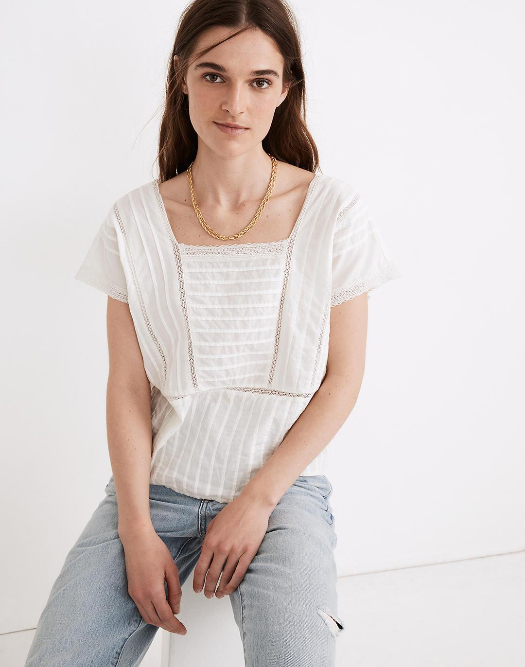 Lace-Inset Pintuck Top