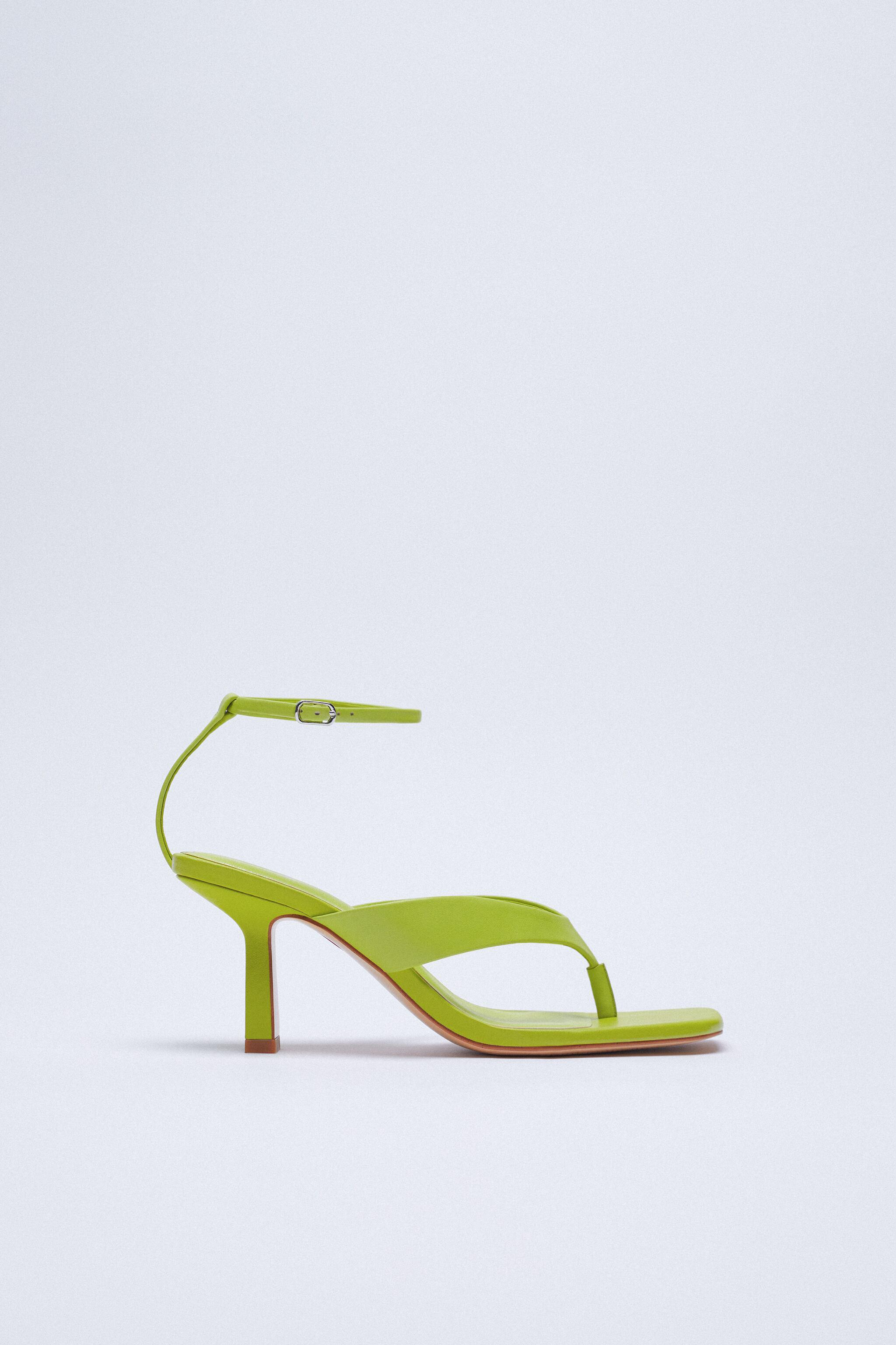 HEELED LEATHER SQUARE TOE SANDALS 4