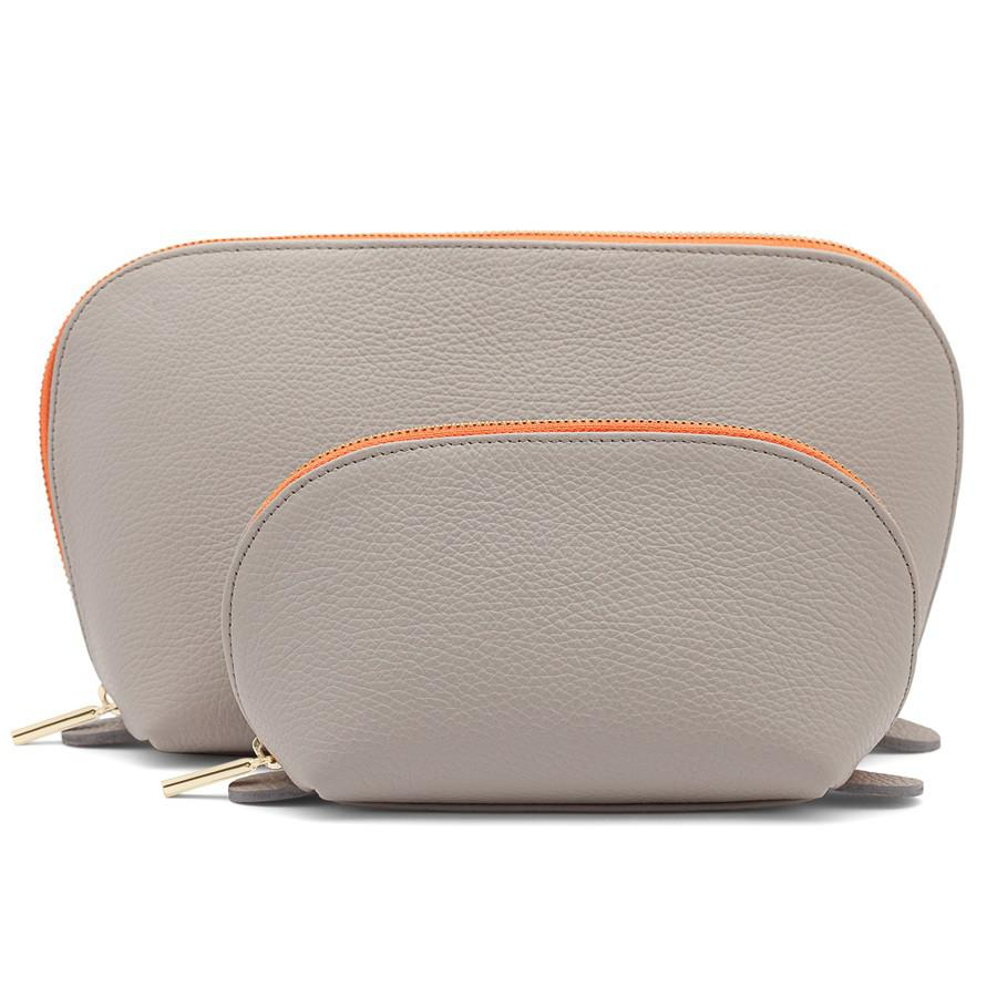 Women's Leather Travel Case Set in Soft Grey   Pebbled Leather by Cuyana