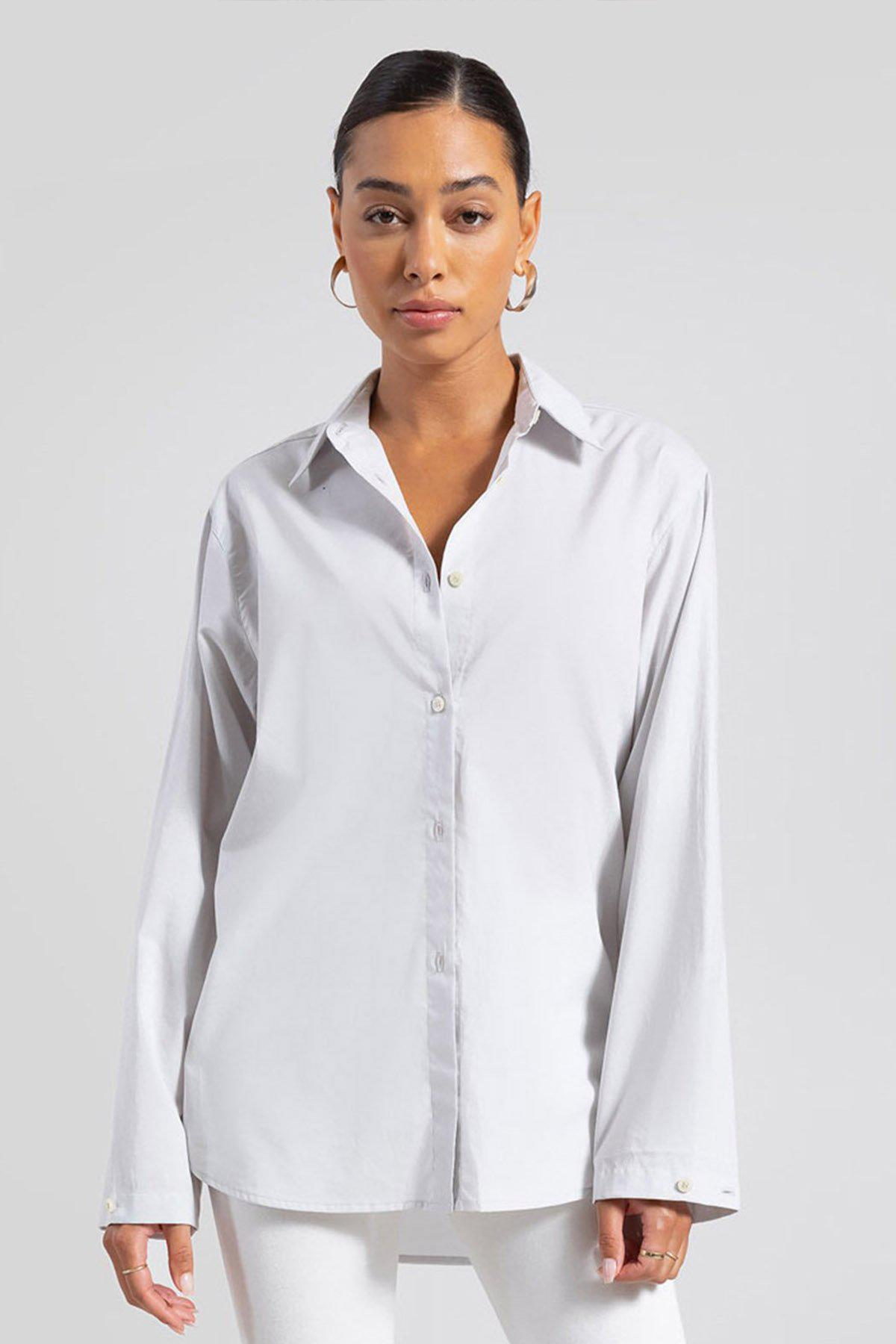 Elle Oversized Button Down - Pearl