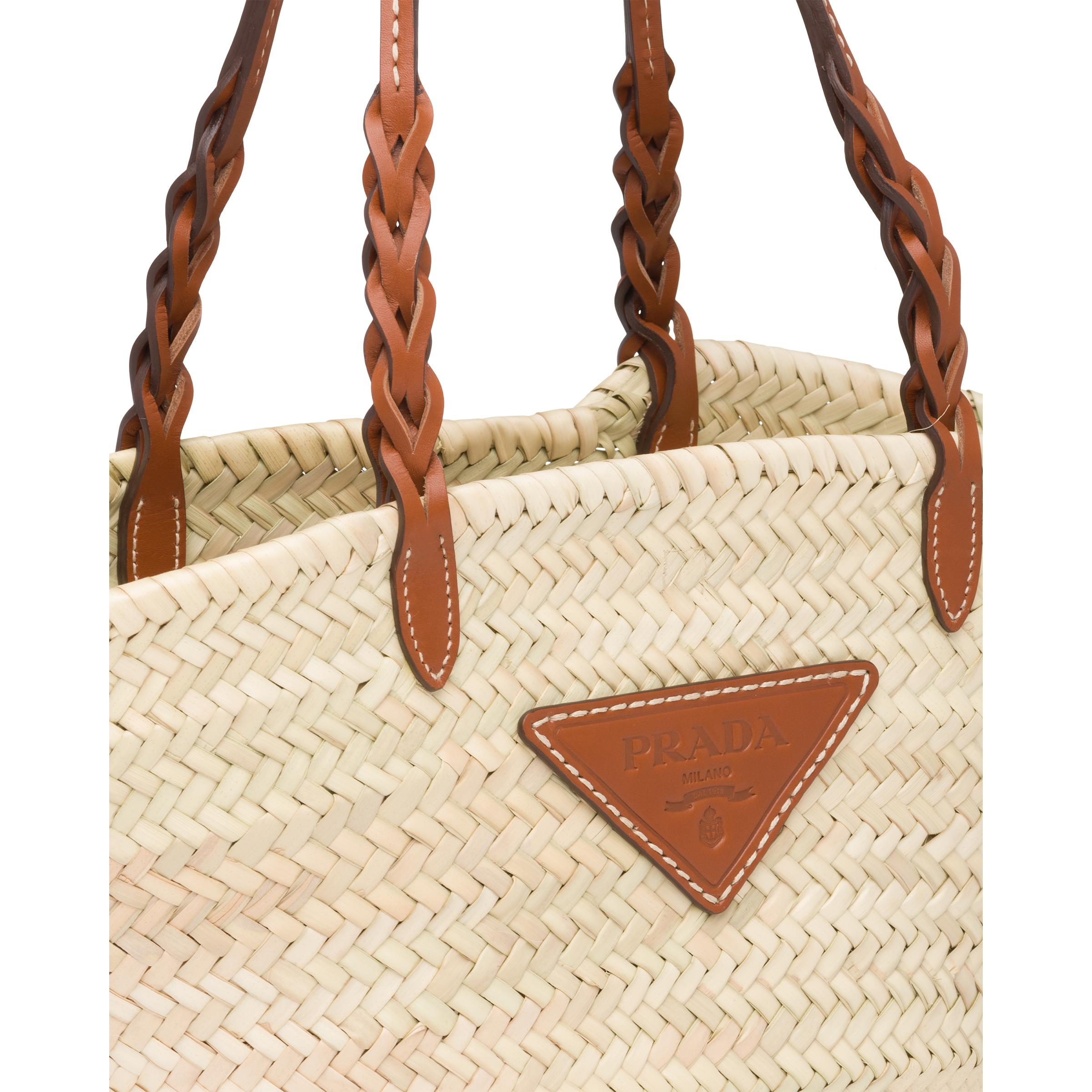 Woven Palm And Leather Tote Women Beige/cognac 5