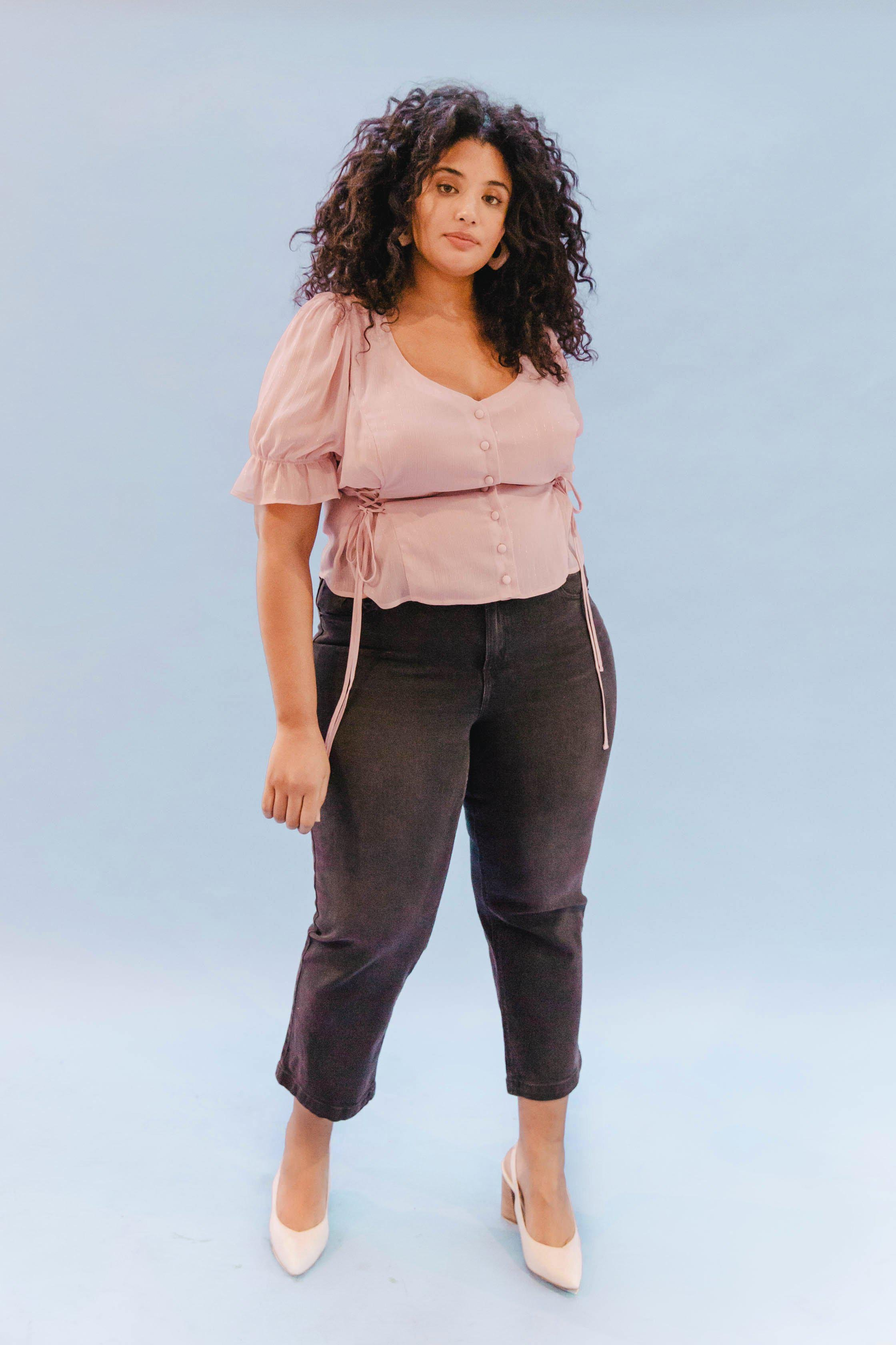 THE DOUBLE LACEUP TOP ~ BLUSH (FINAL SALE)
