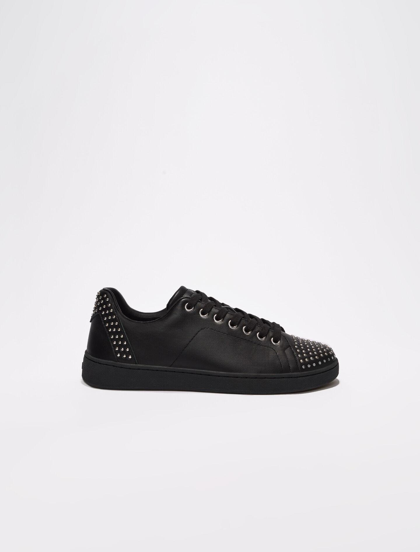BLACK LEATHER TRAINERS WITH STUDS