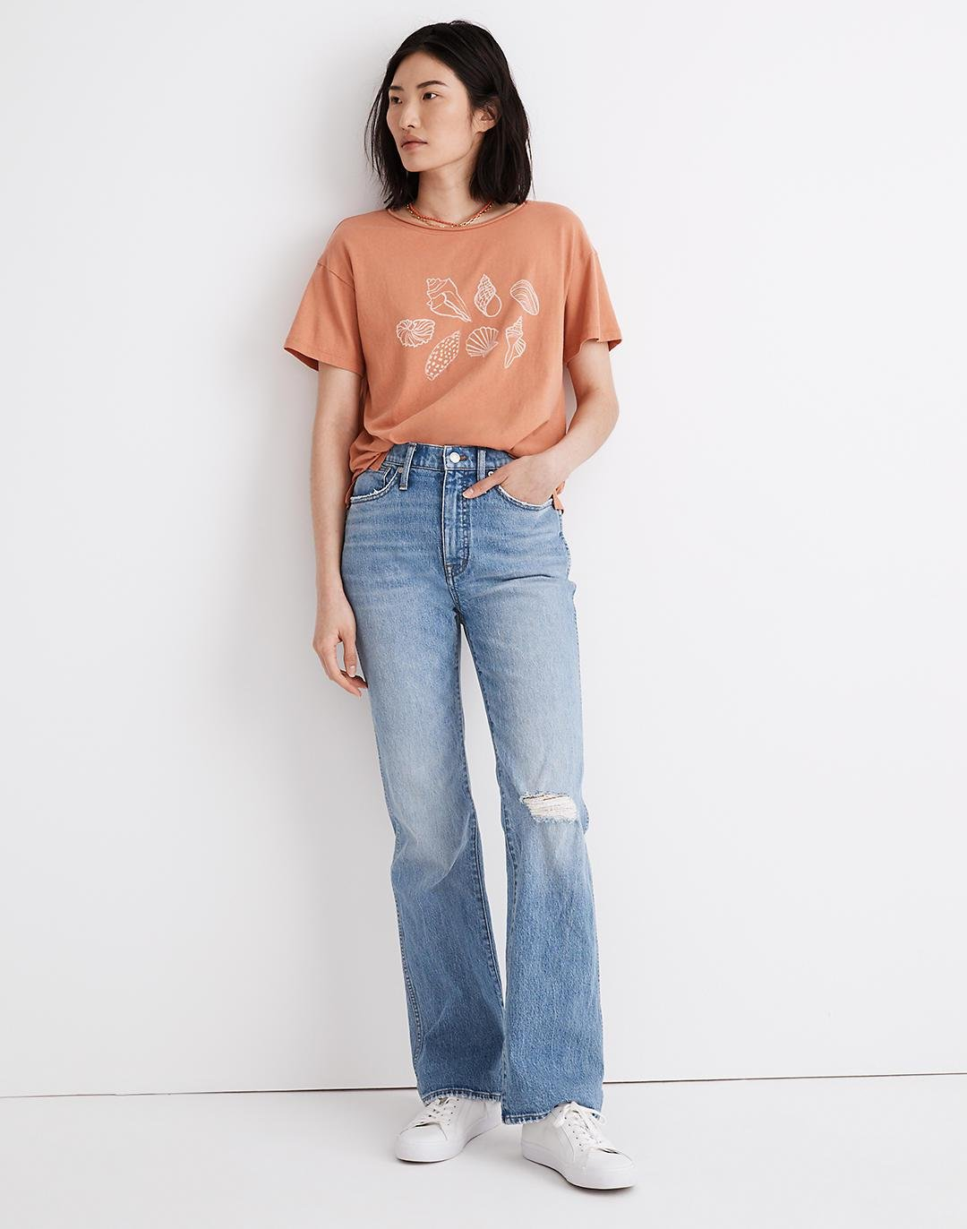 High-Rise Bootcut Jeans in Firth Wash: Knee-Rip Edition