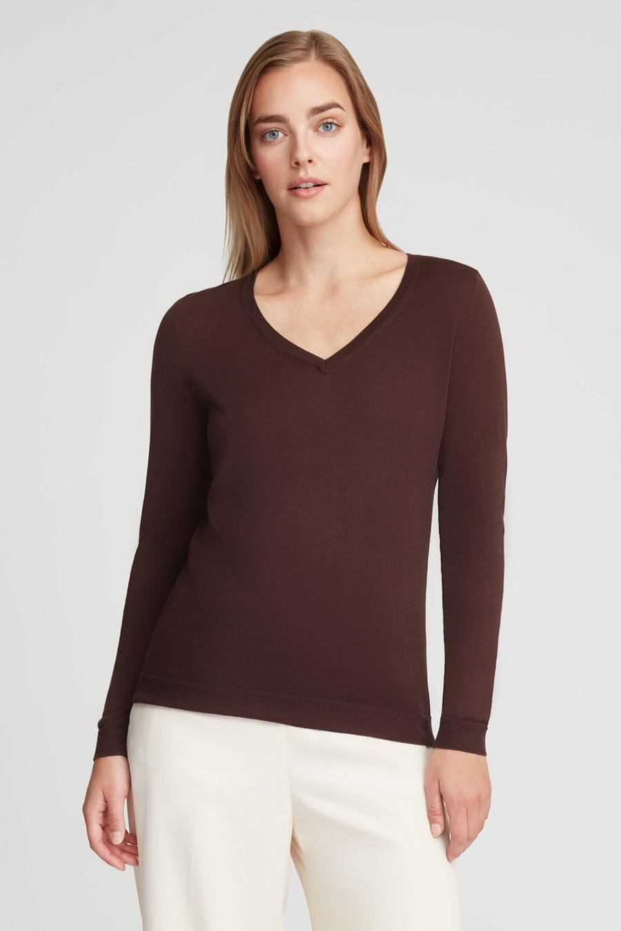 Women's Classic Cotton Cashmere V-Neck Sweater in Chocolate | Size: 1