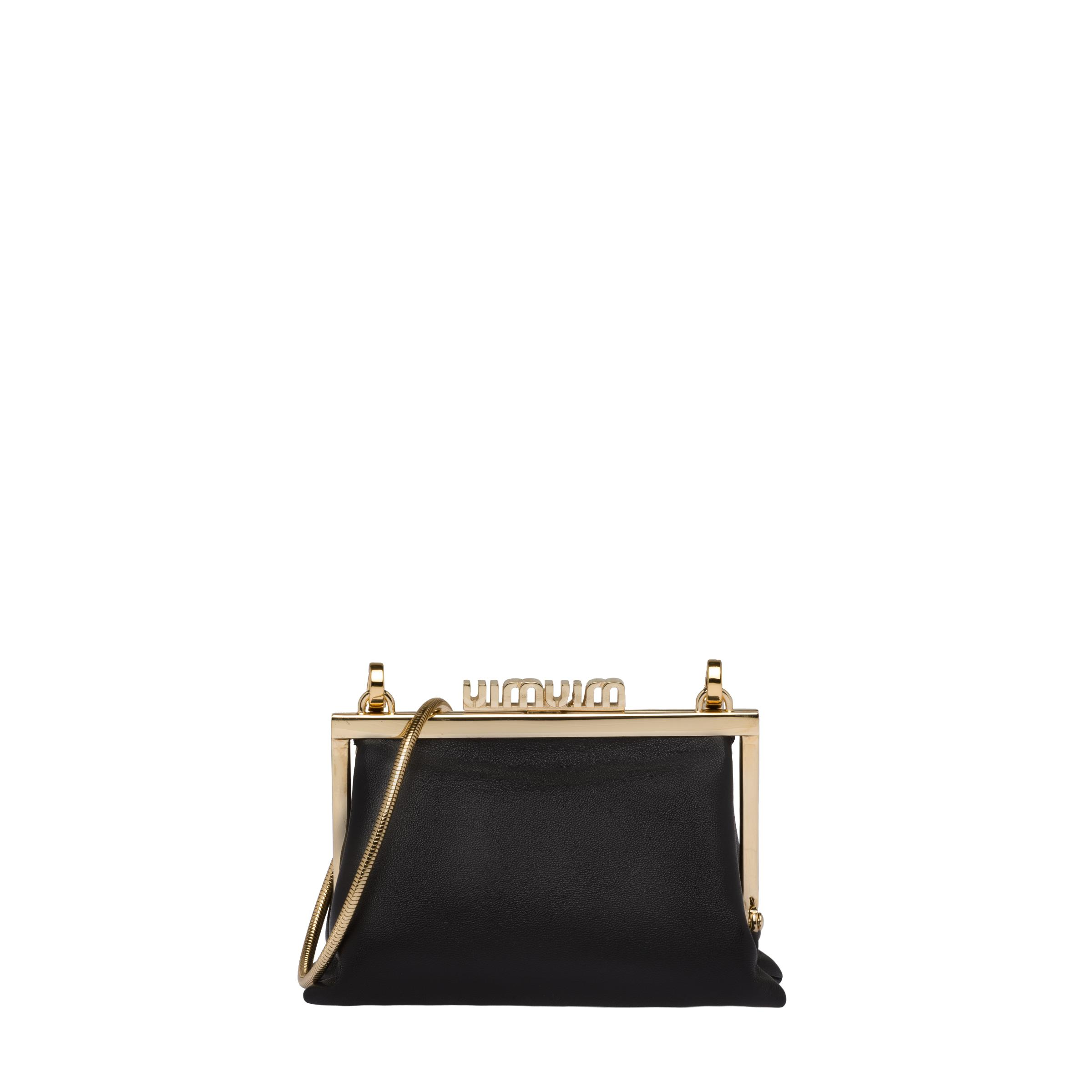 Nappa Leather Wallet With Shoulder Strap Women Black 3